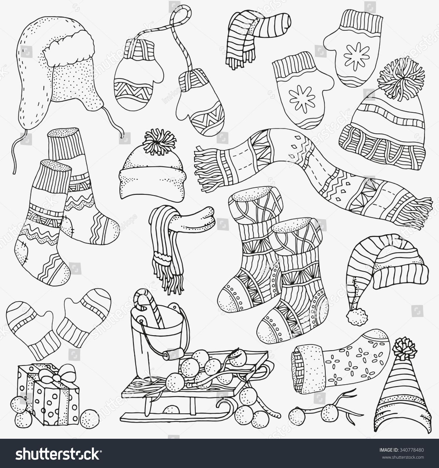 Set Winter Sketches Warm Clothes Scarf Stock Vector