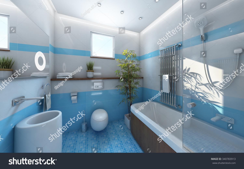 Light Bathroom Blue White Tile 3 D Stock Illustration 340783913 ...