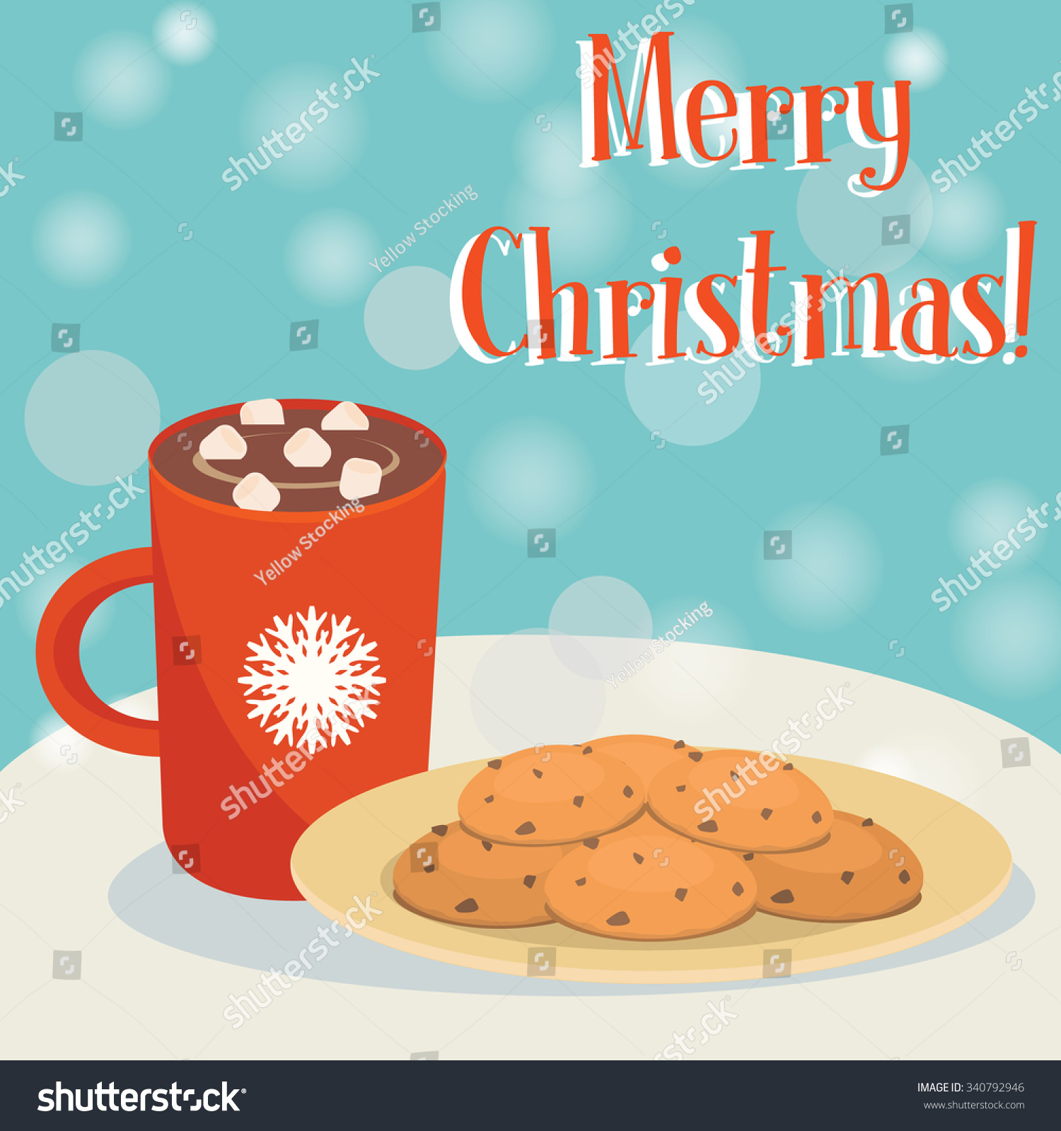 Christmas Card Plate Cookies Red Mug Stock Vector Royalty Free 340792946