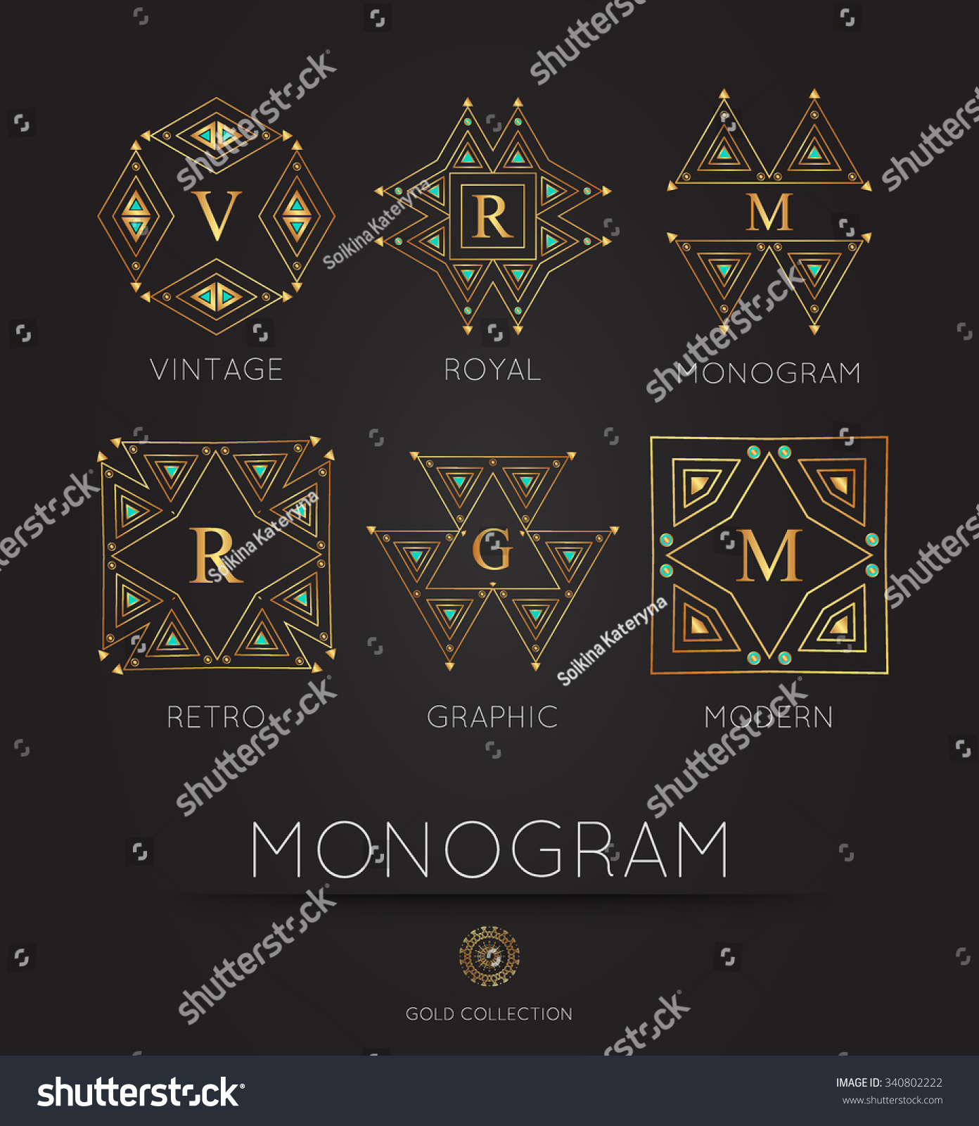 Royal Golden Linear Modern Monogram Logo Stock Vector 340802222 ...