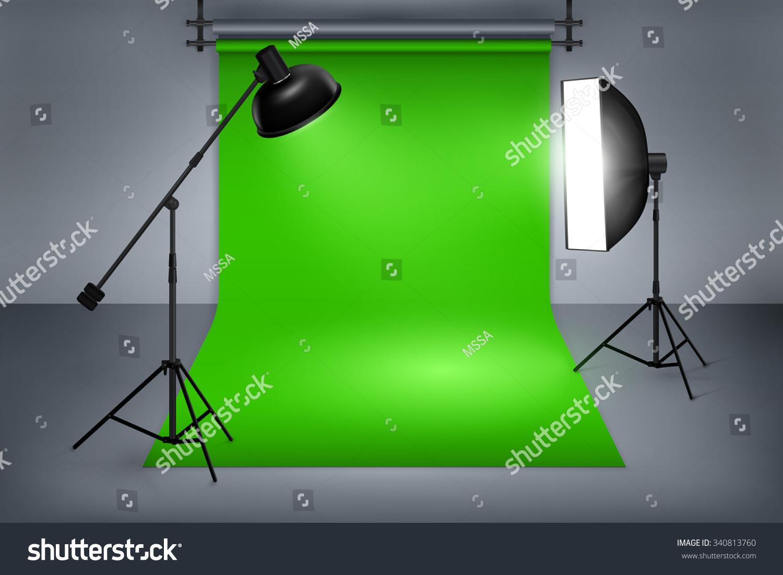 film photo studio green screen interior stock vector 340813760 shutterstock. Black Bedroom Furniture Sets. Home Design Ideas