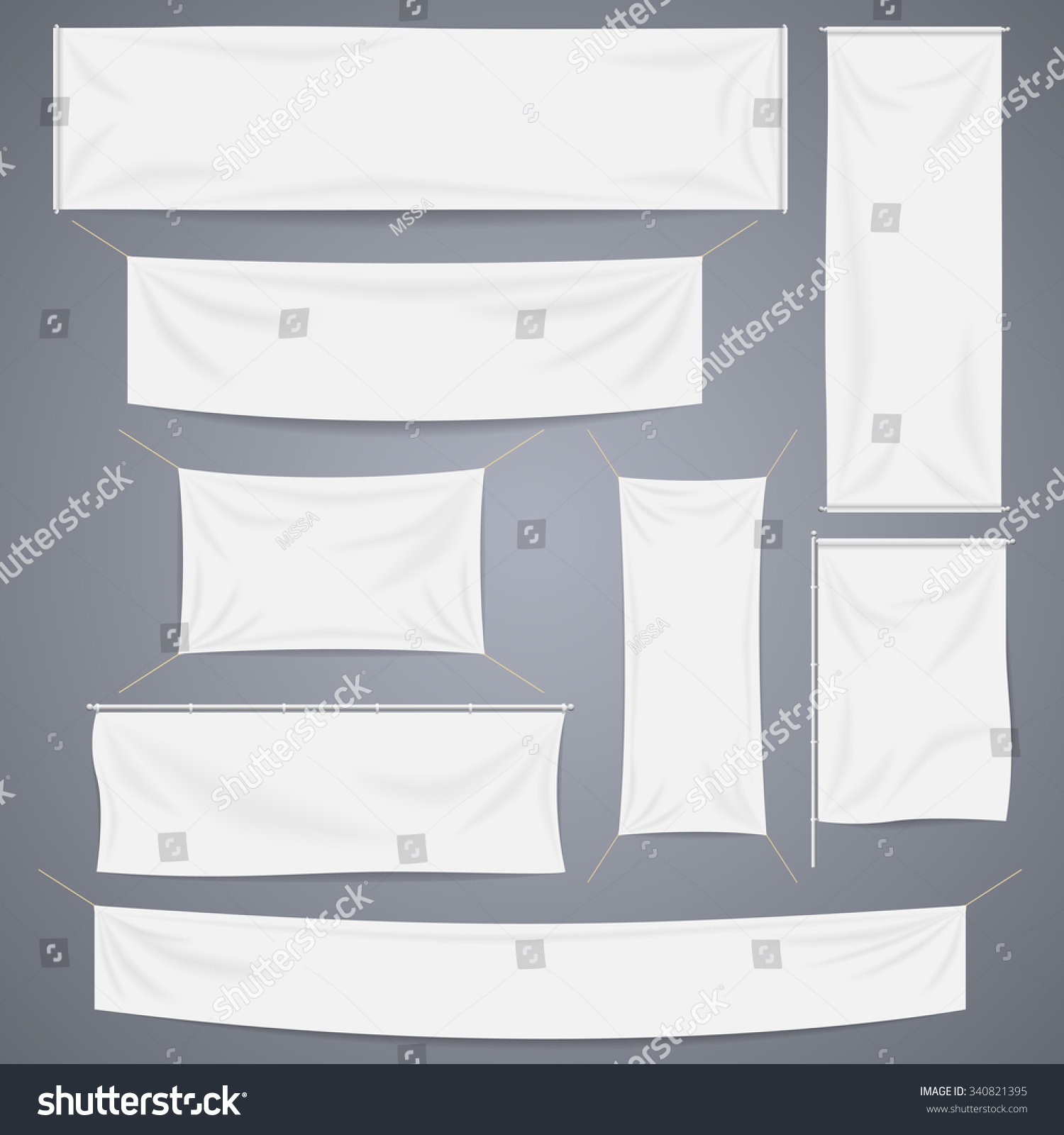 White textile banners with folds template set. Separate shadow. Cotton and canvas, flag blank, advertising empty, vector illustration #340821395