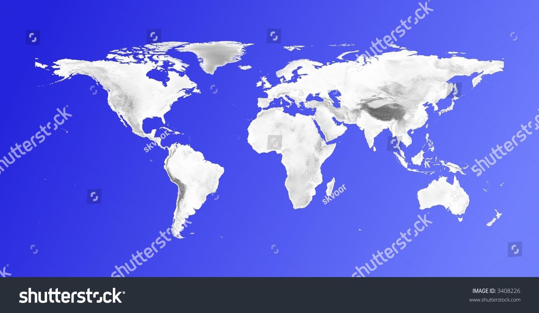 Detailed World Map Grayscale Elevation On Stock Illustration - Elevation world
