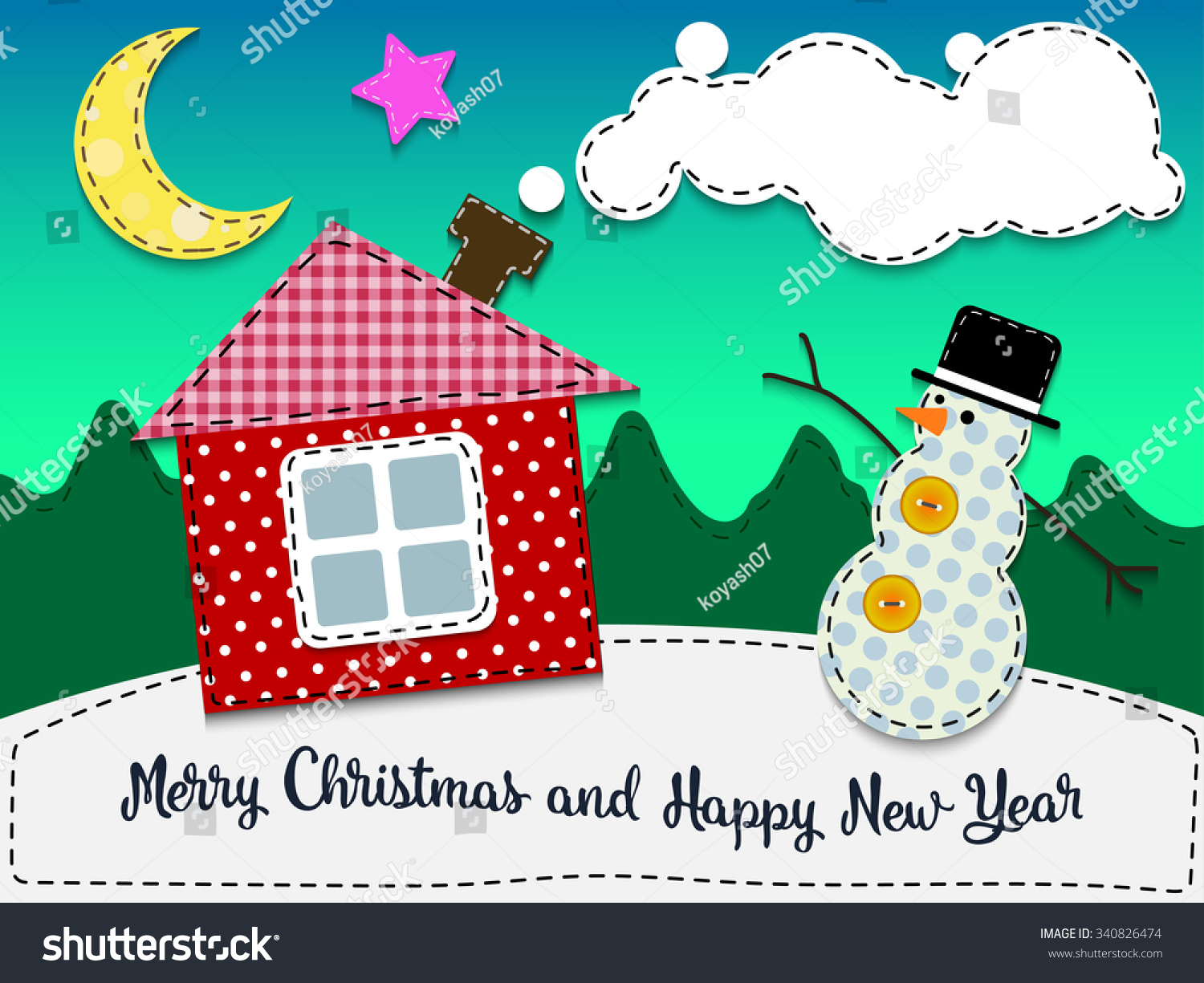Merry christmas happy new year greeting stock vector royalty free merry christmas and happy new year greeting card textile fabric stitched applique m4hsunfo