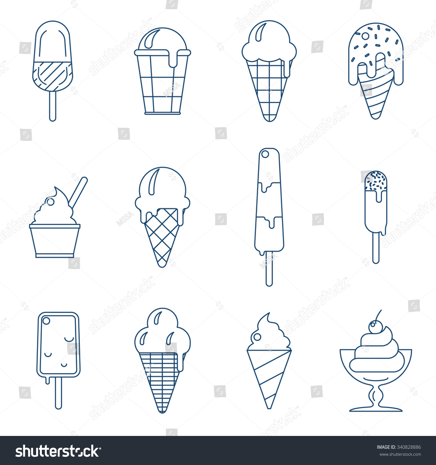 Line Art Ice Cream : Line art icecream icons set dessert food sweet and cold