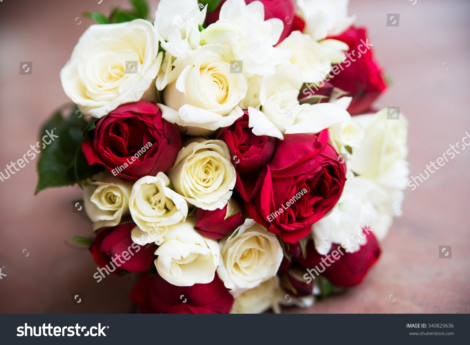 Wedding Flower Bouquet With Pink Red And White Roses Ez Canvas