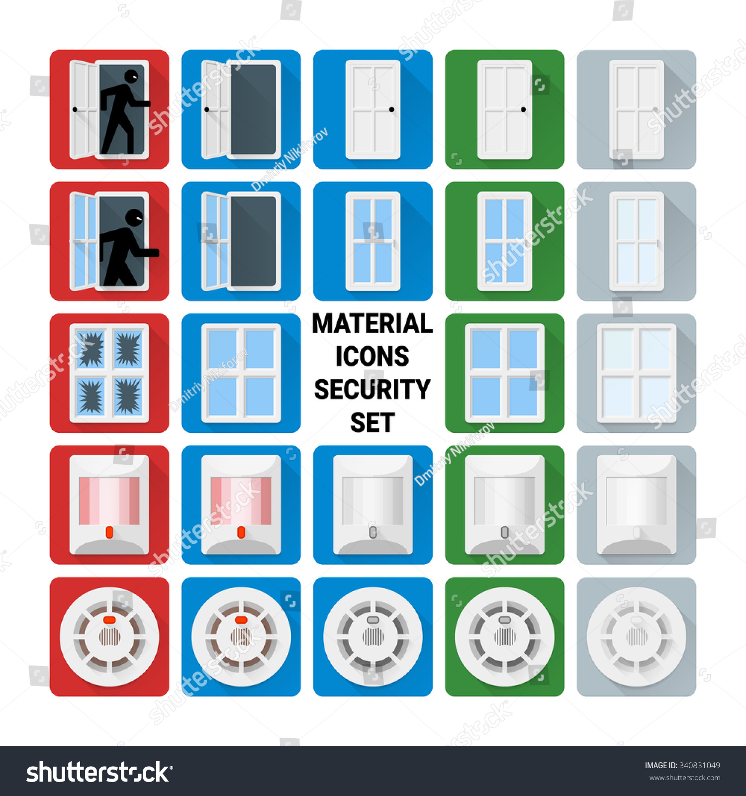 Material design security set. Door relay window glass break infrared PIR