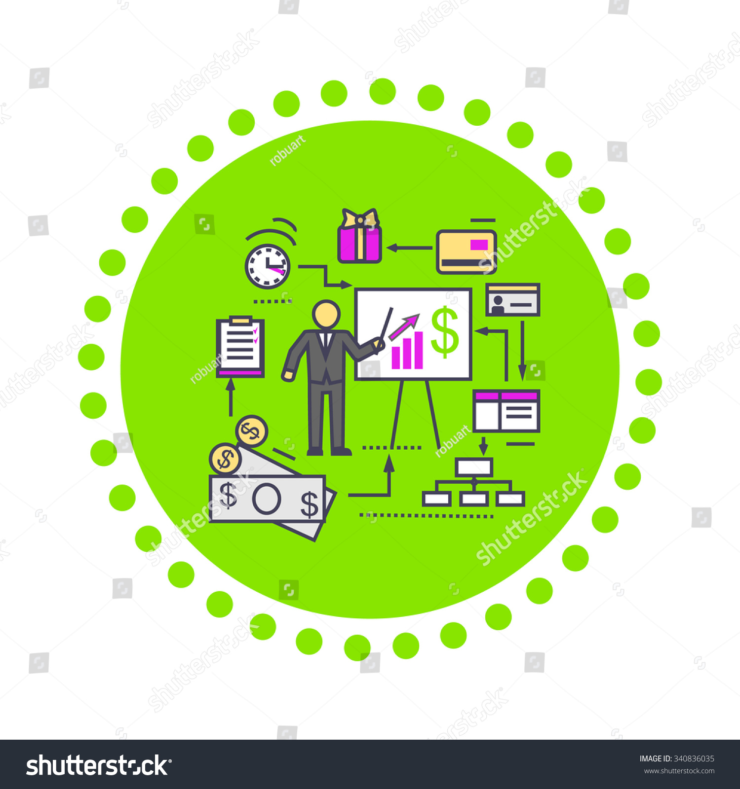 Finance Market: Concept Financial Analysis Icon Flat Business Stock
