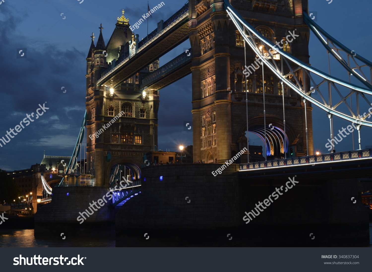 Side of Tower Bridge at night
