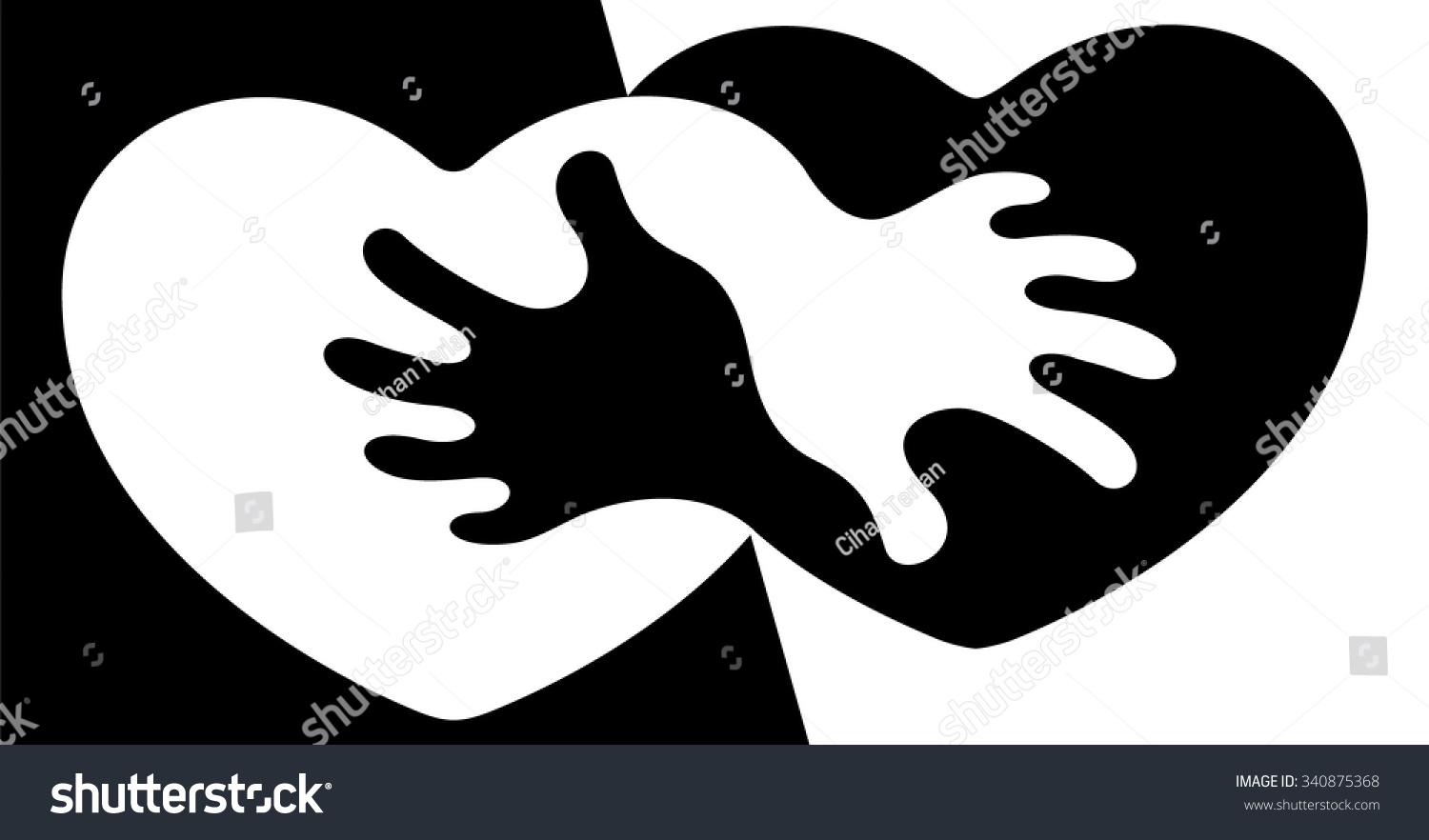 Anti apartheid abstract symbol anti racism stock vector 340875368 an abstract symbol for anti racism figuring two hearts holding each other biocorpaavc Images