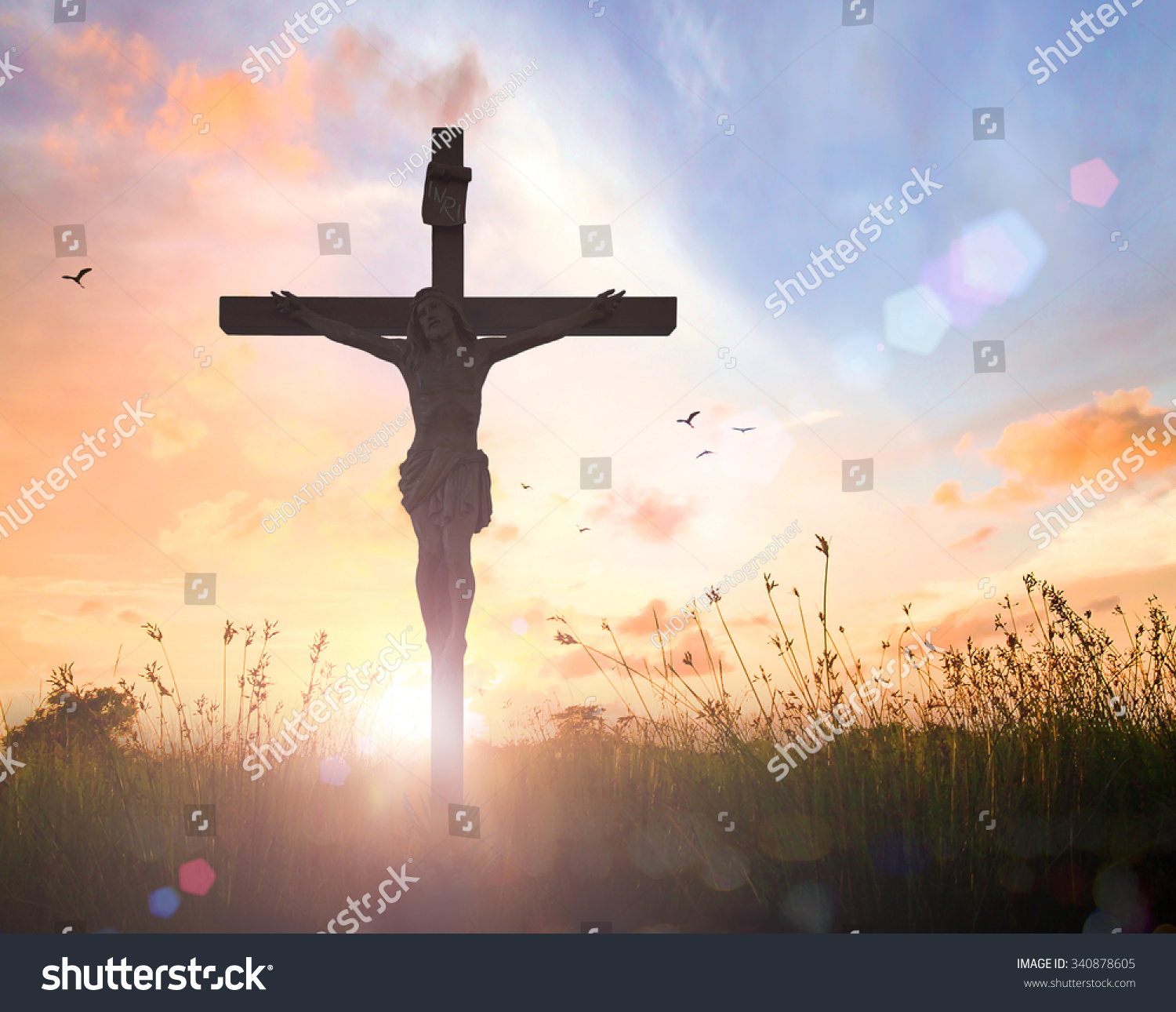 Christian background concept silhouette jesus christ christian background concept silhouette jesus christ and cross over meadow sunset voltagebd Images
