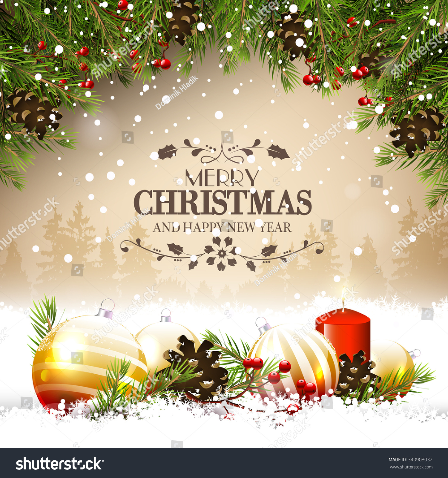 Christmas Greeting Card Traditional Decorations Calligraphic Stock ...