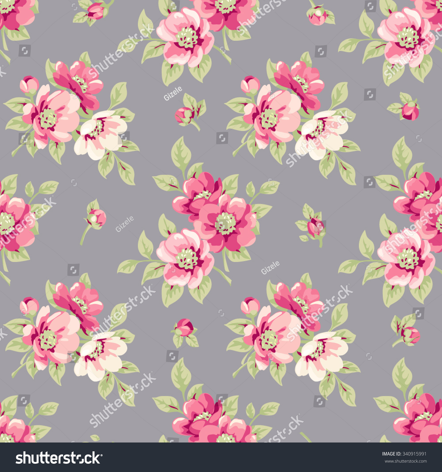 Seamless Floral Pattern Vintage Seamless Wallpaper Stock Vector