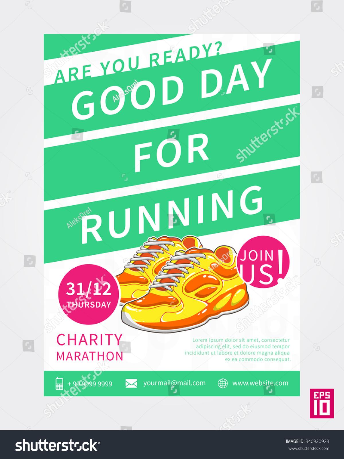 Vector Colorful Charity Marathon Flyer Template Stock Vector