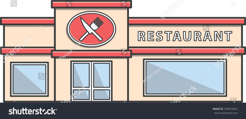 Restaurant building doodle illustration cartoon