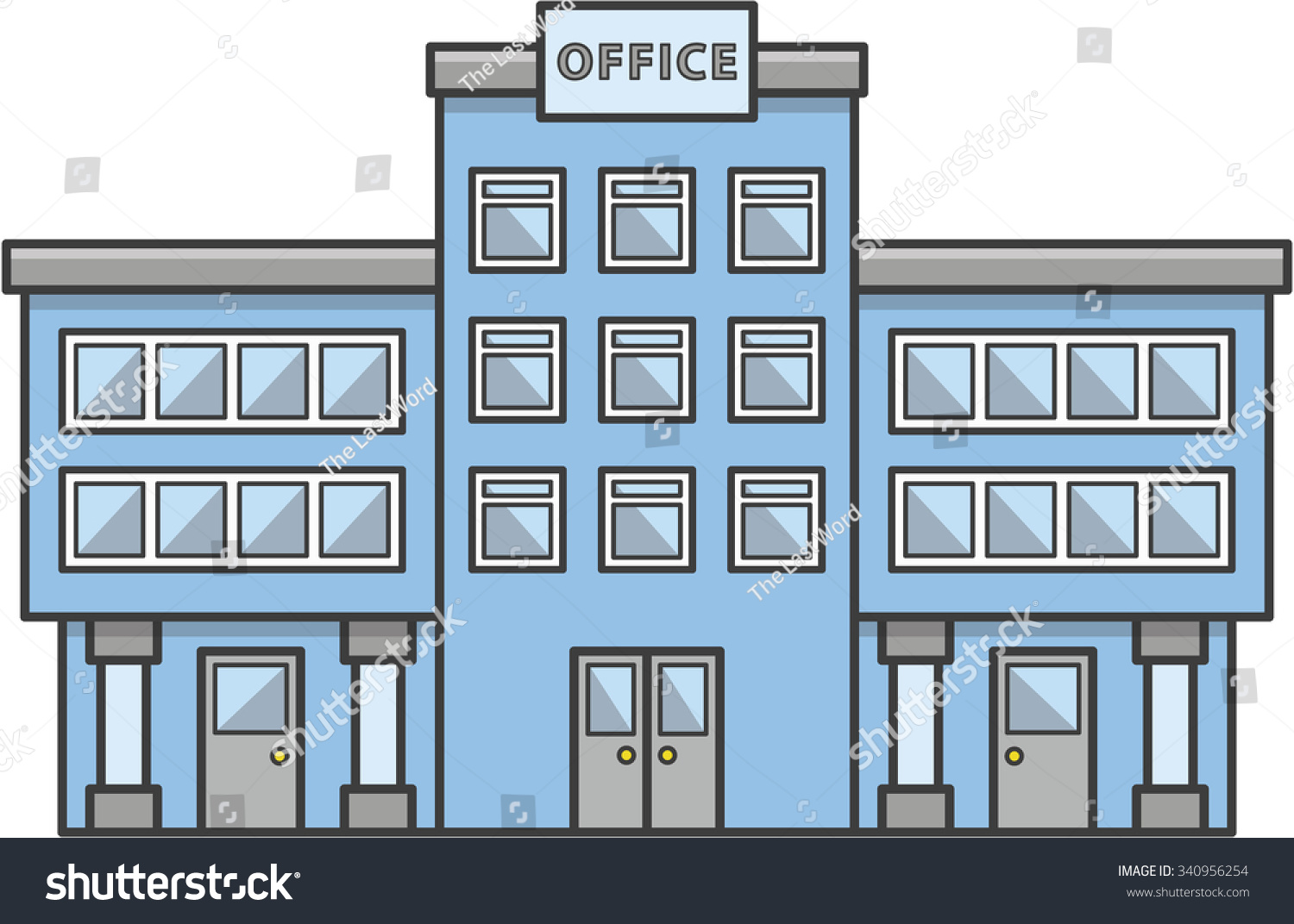 Office Building Doodle Illustration Cartoon Stock Vector Royalty Free 340956254