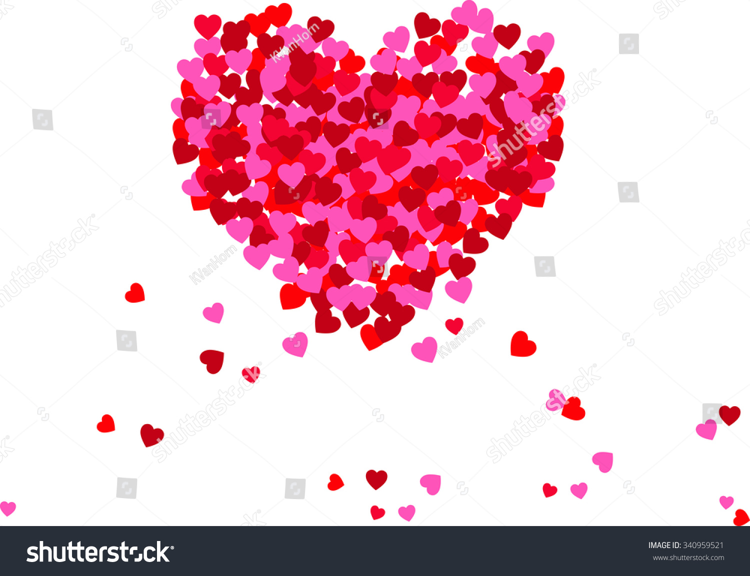 Small Hearts Placed Together Create Large Stock Illustration