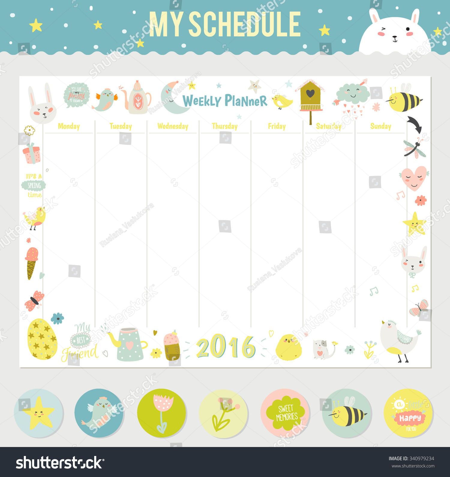 Cute Calendar Weekly Planner Template for 2016. Beautiful Diary with ...