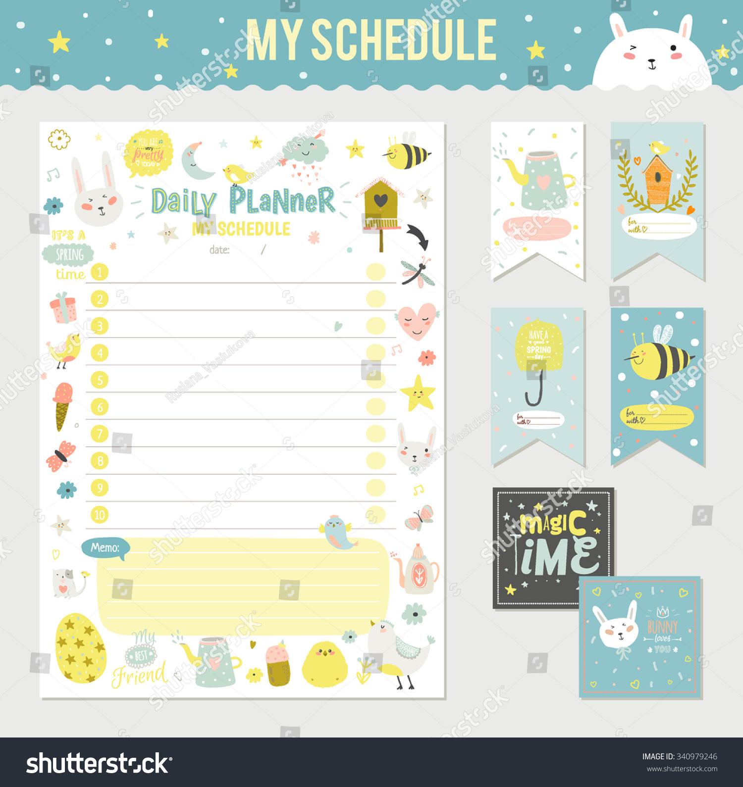 My Calendar Planner : Cute calendar daily planner template stock vector
