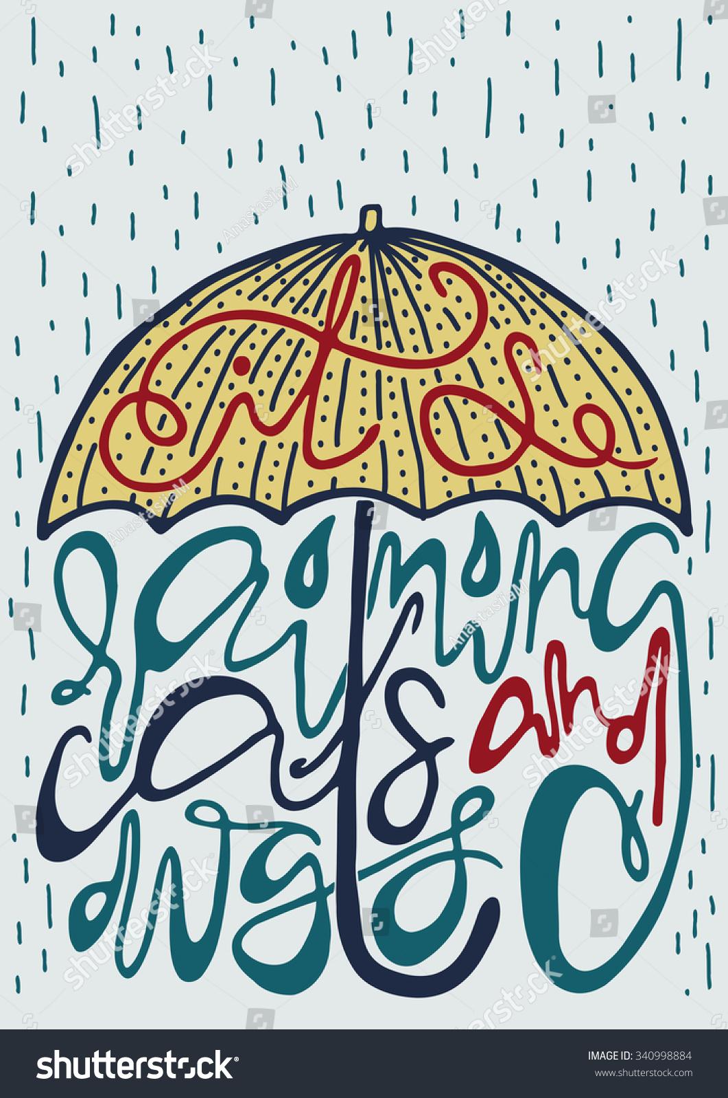 Bright Poster Silhouette Umbrella English Idiomatic Stock Vector Royalty Free 340998884