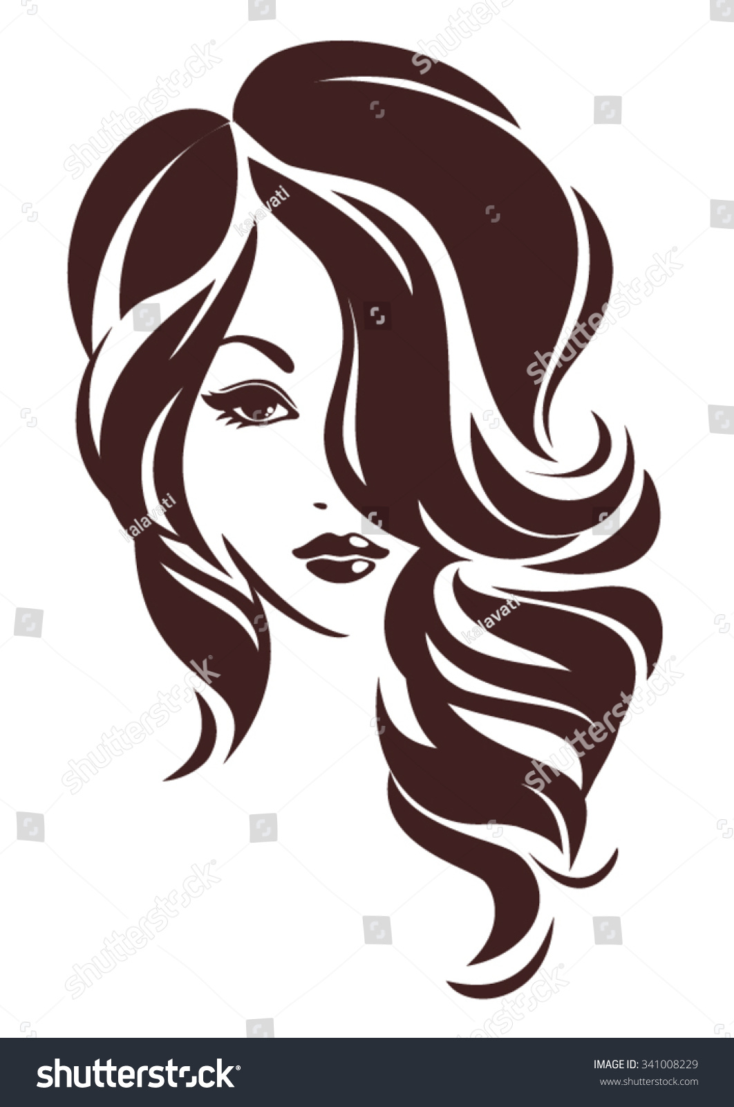 Girl Hair Loose Vector Logo Design Stock Vector 341008229