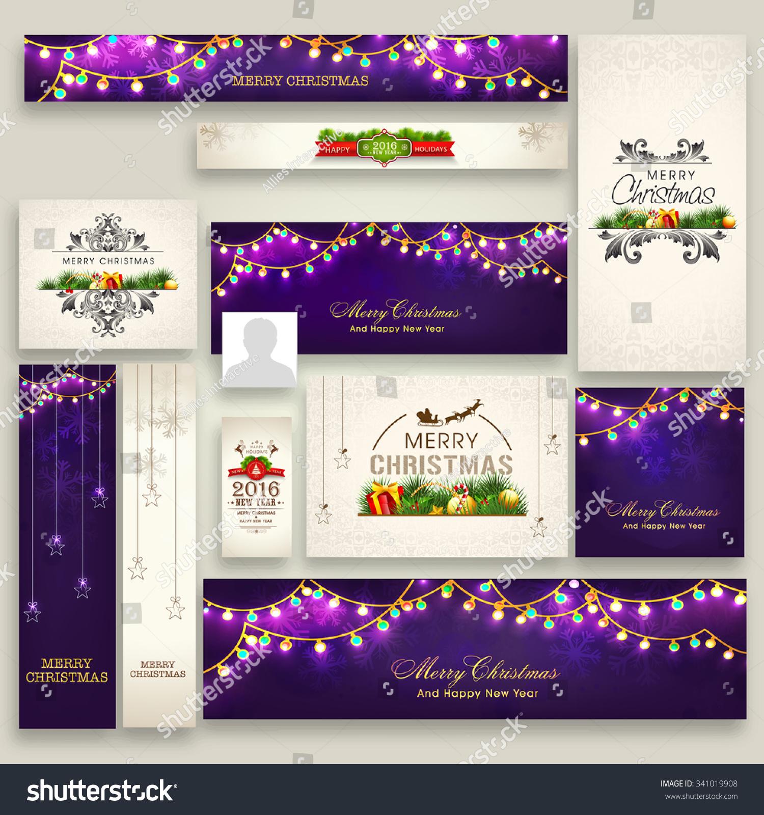 Merry Christmas Headings Stock Vector Elegant Social Media Post Headers Ads