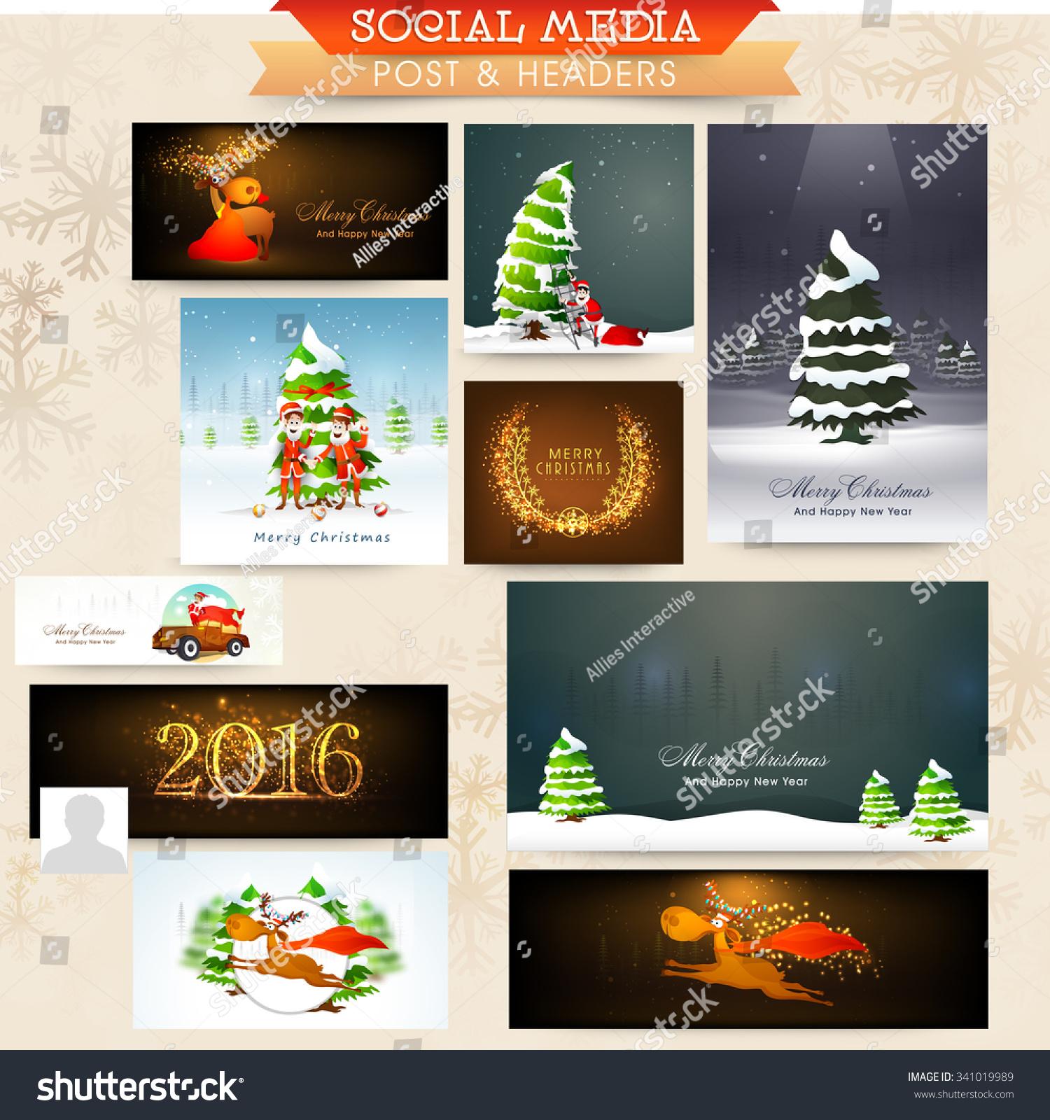 Merry Christmas Headings Stock Vector Glossy Elegant Social Media Post Ads