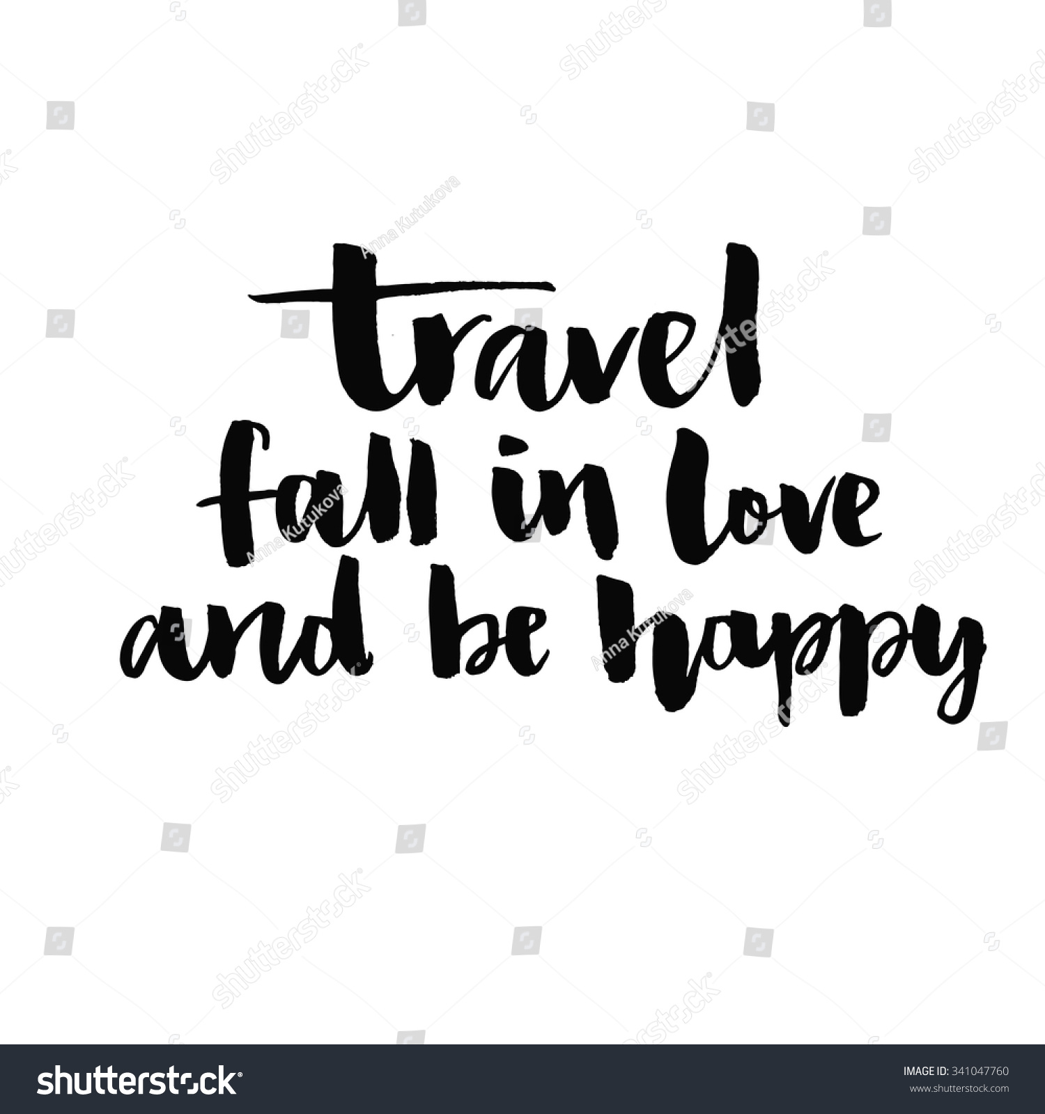 Travel Fall Love Be Happy Inspirational Stock Vektor