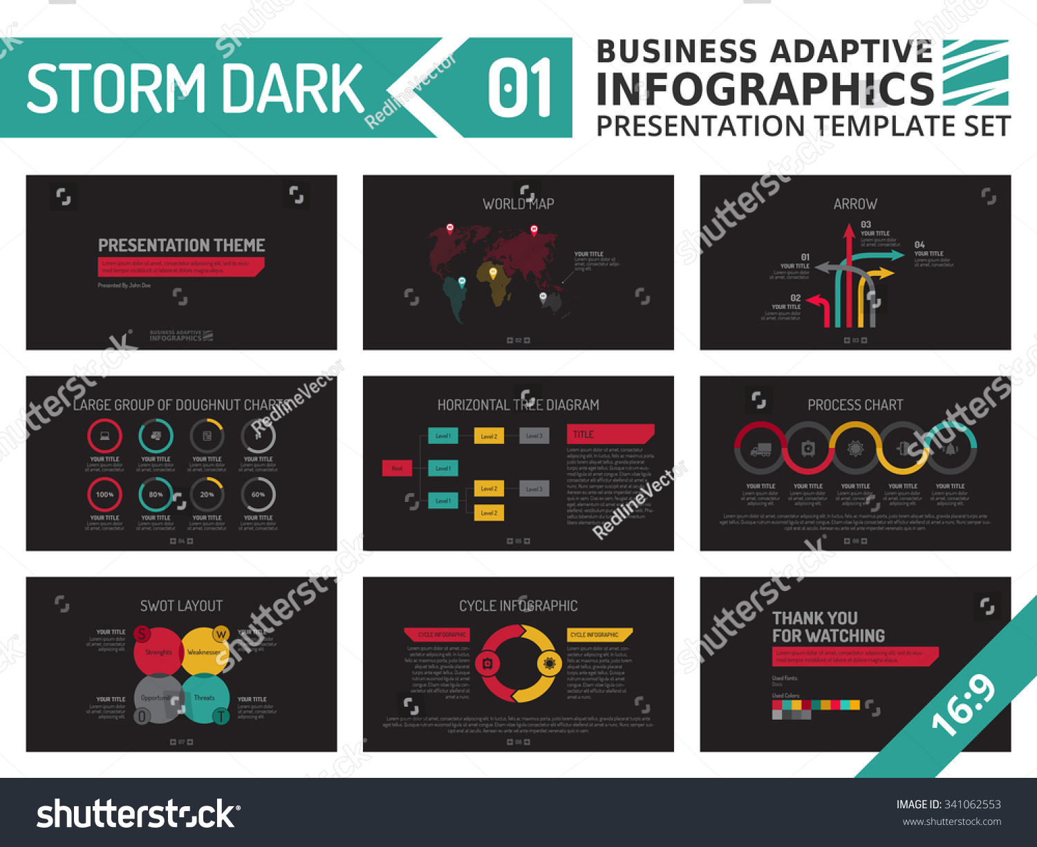 Set Editable Multicolored Infographic Presentation Template Stock ...