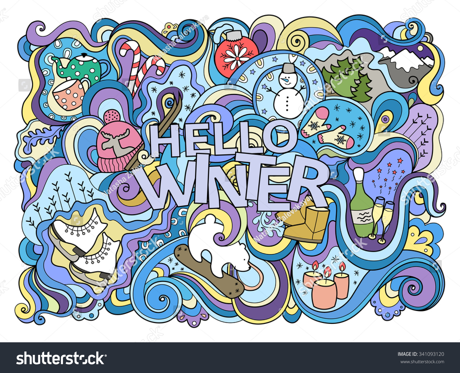 colorful winter doodle illustration nice card stock vector