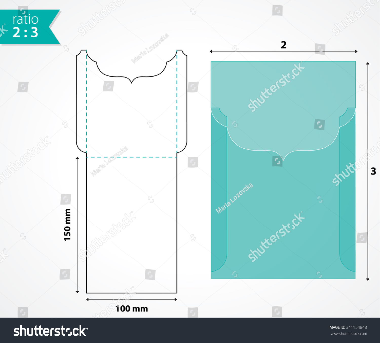 Swirly Pocket Envelope Mockup Wedding Invitation Stock Vector ...