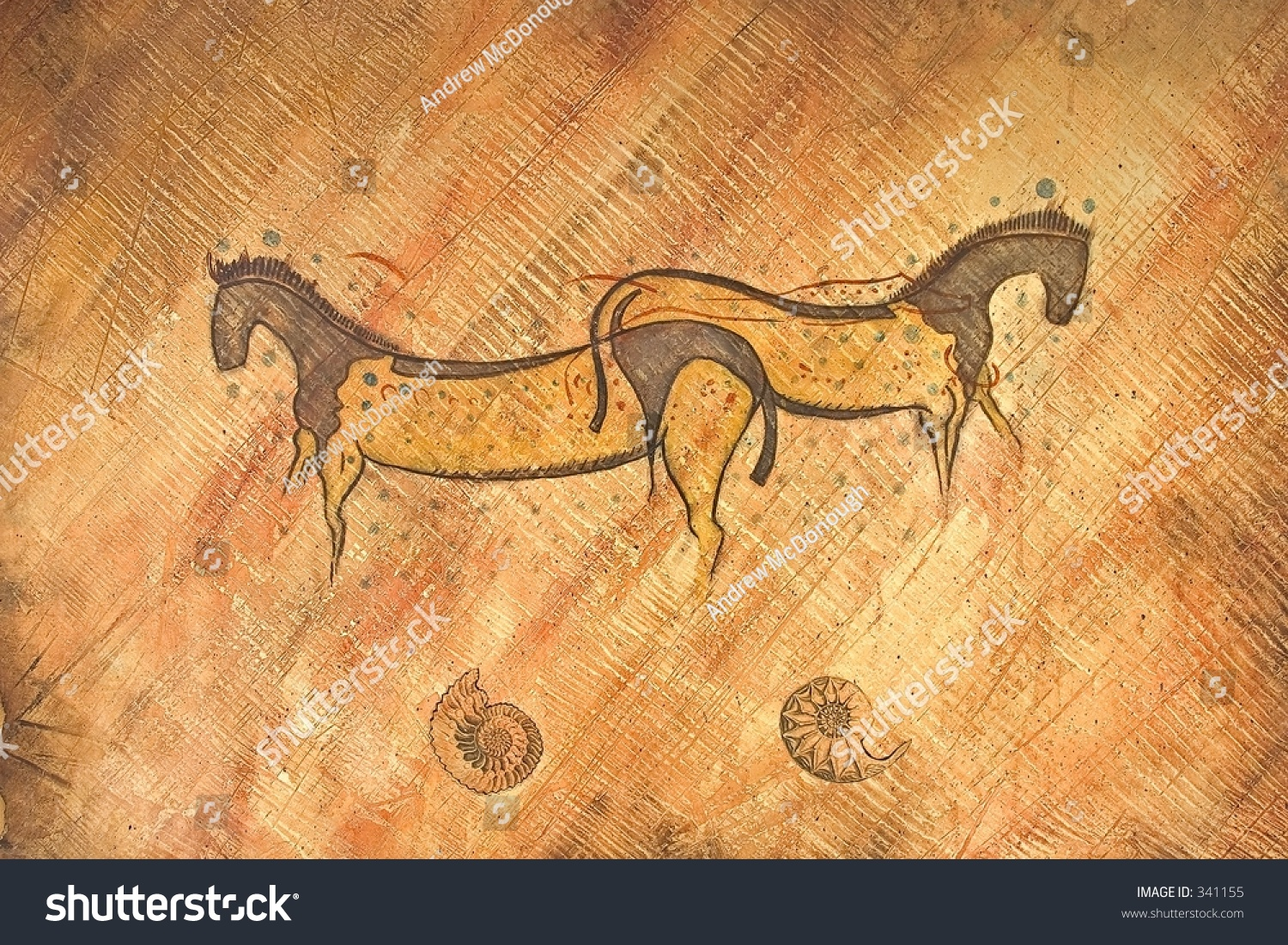 Painting Two Horses On Wall Santa Stock Photo Edit Now 341155
