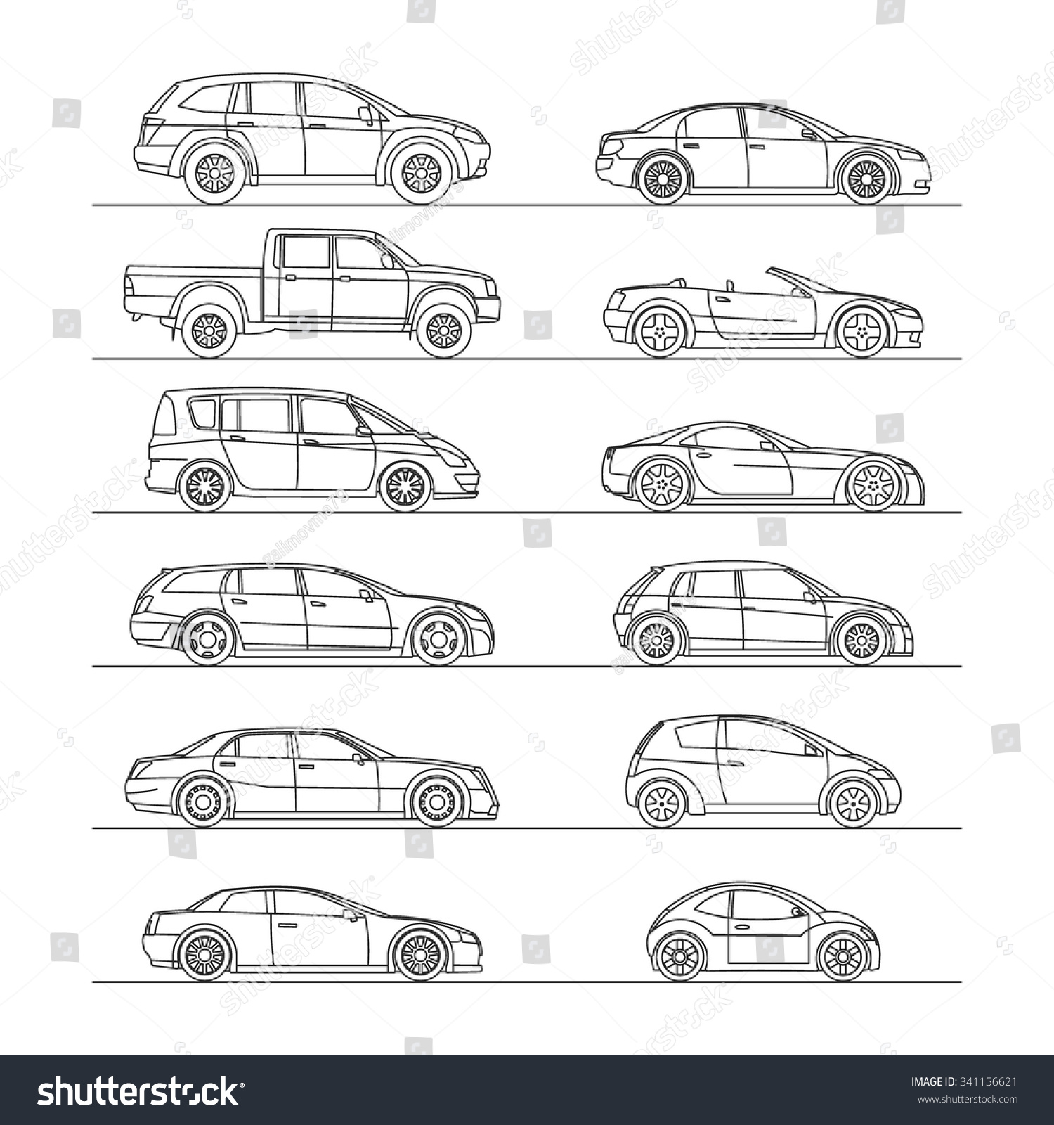 Vector Drawing Lines Html : Car icon set line draw vector illustration