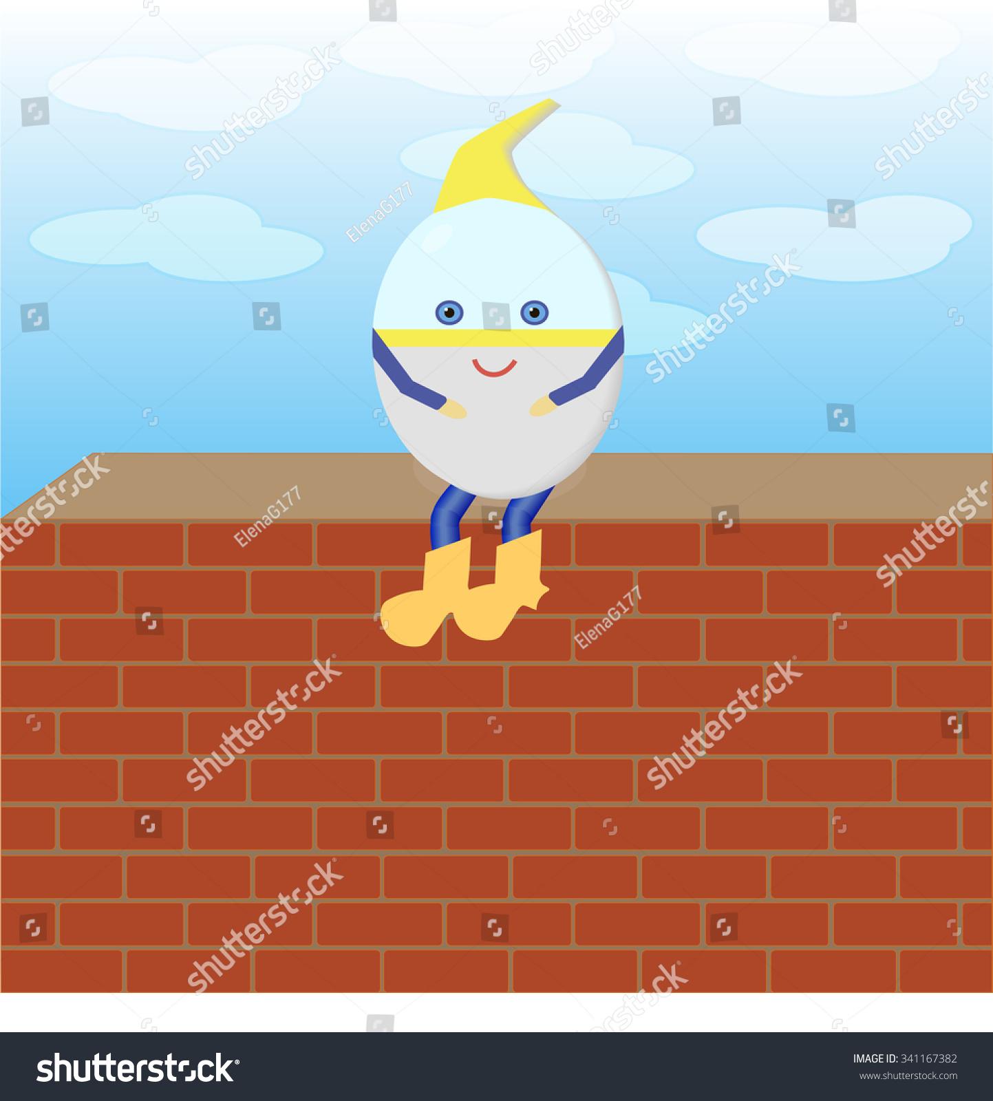 Humpty Dumpty Sitting On Wall Vector Stock Vector Royalty Free