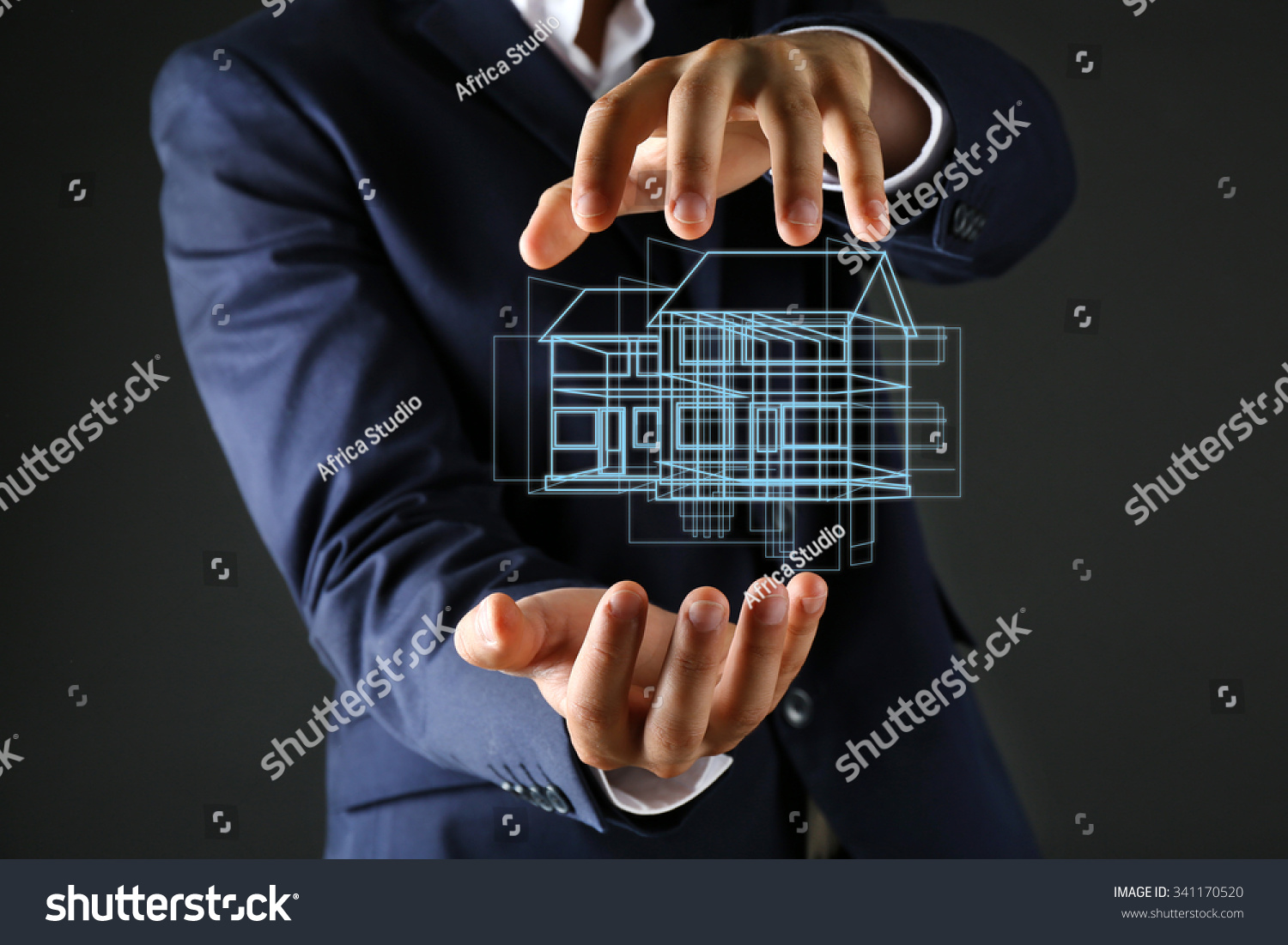 Real estate offer. Businessman holds an artificial model of the house #341170520