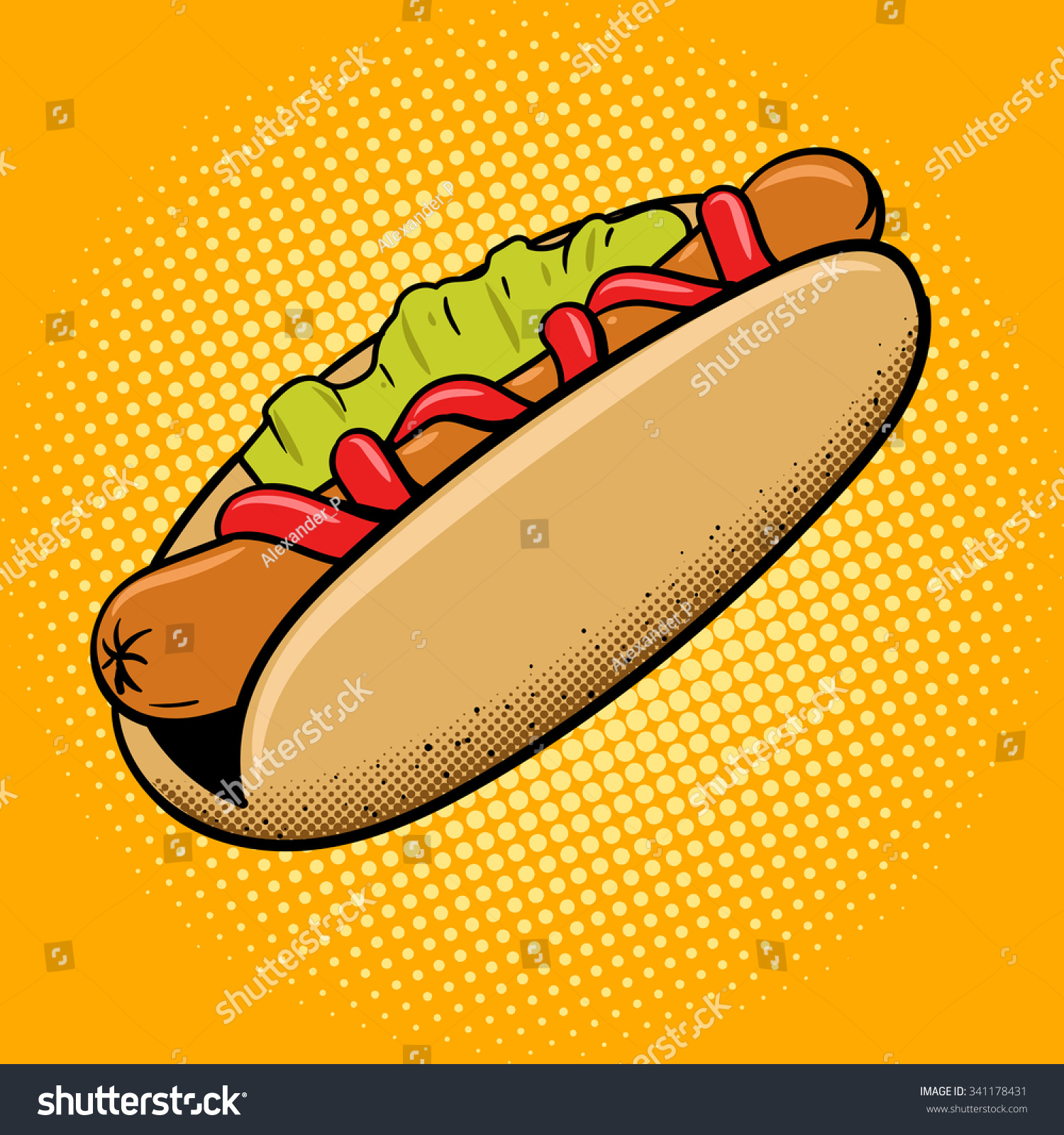 Hot dog fast food pop art style vector illustration Comic book style imitation