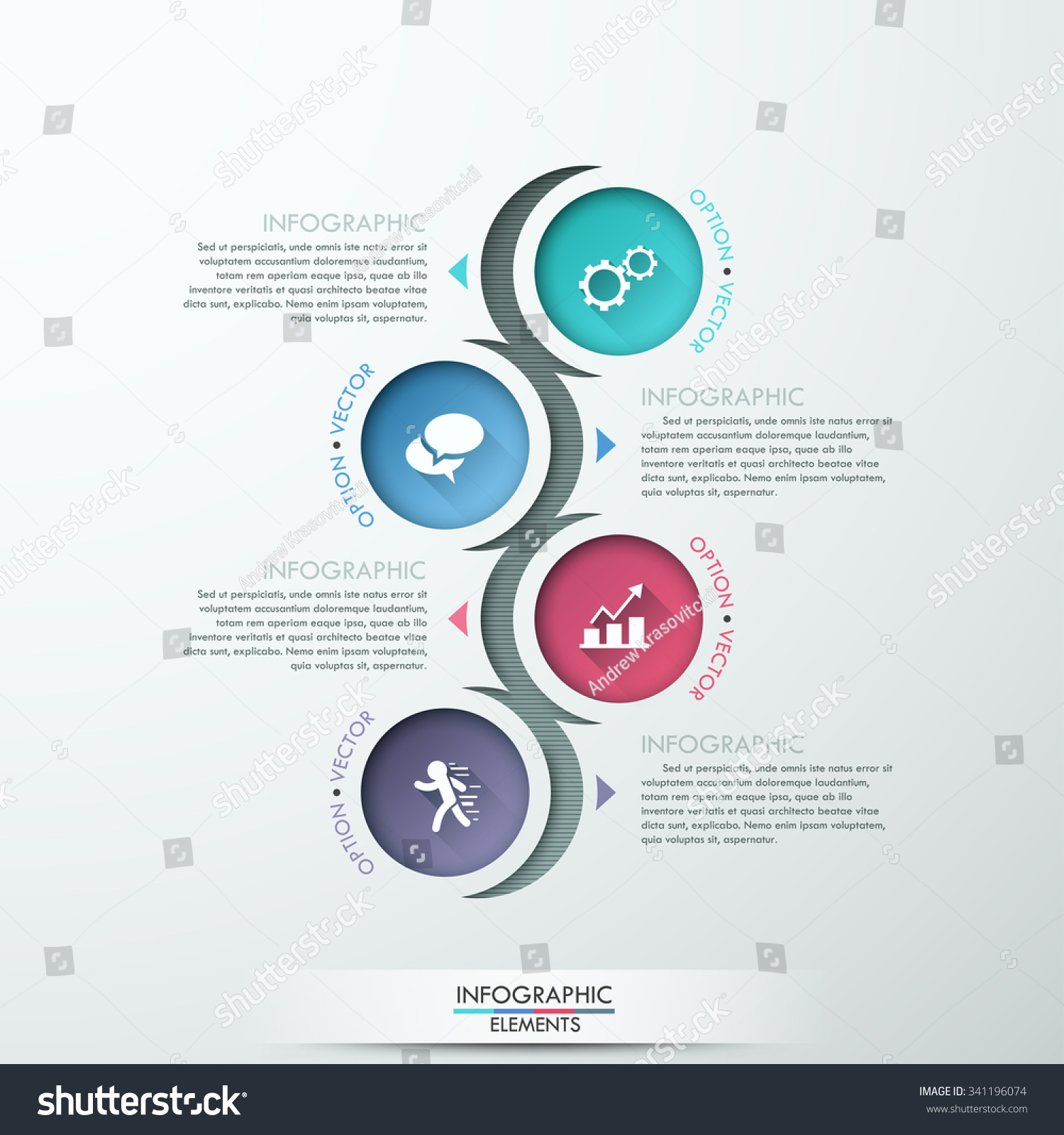 Vector Circle Process Template Infographic. Template For