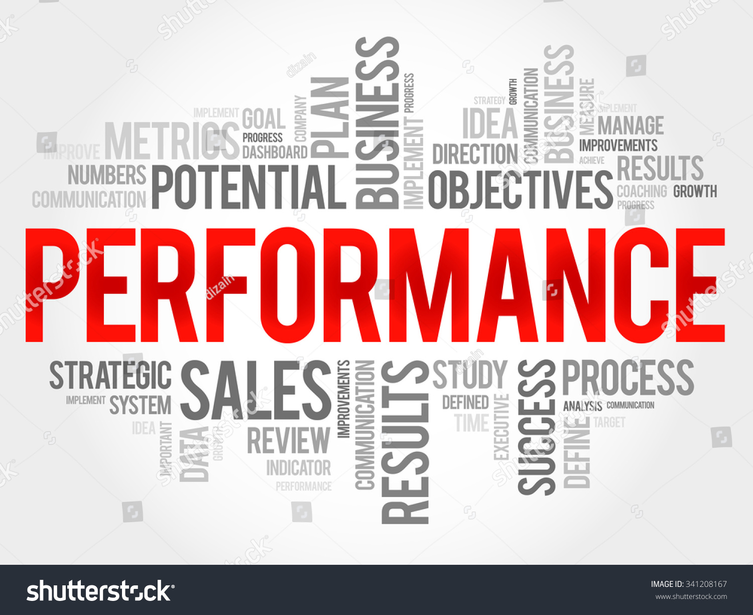performance word cloud business concept stock vector 341208167