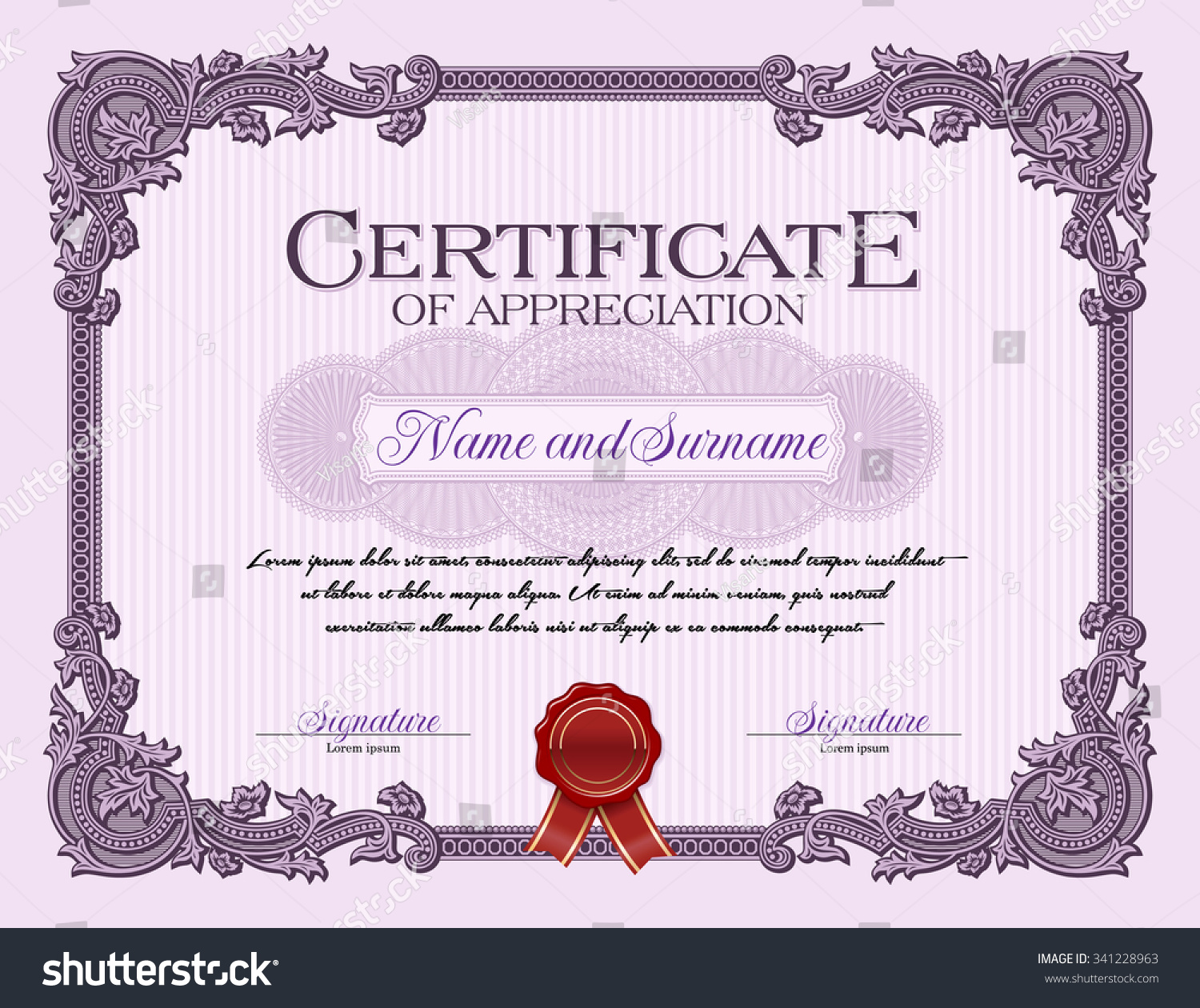 ornament vintage frame certificate appreciation violet stock vector