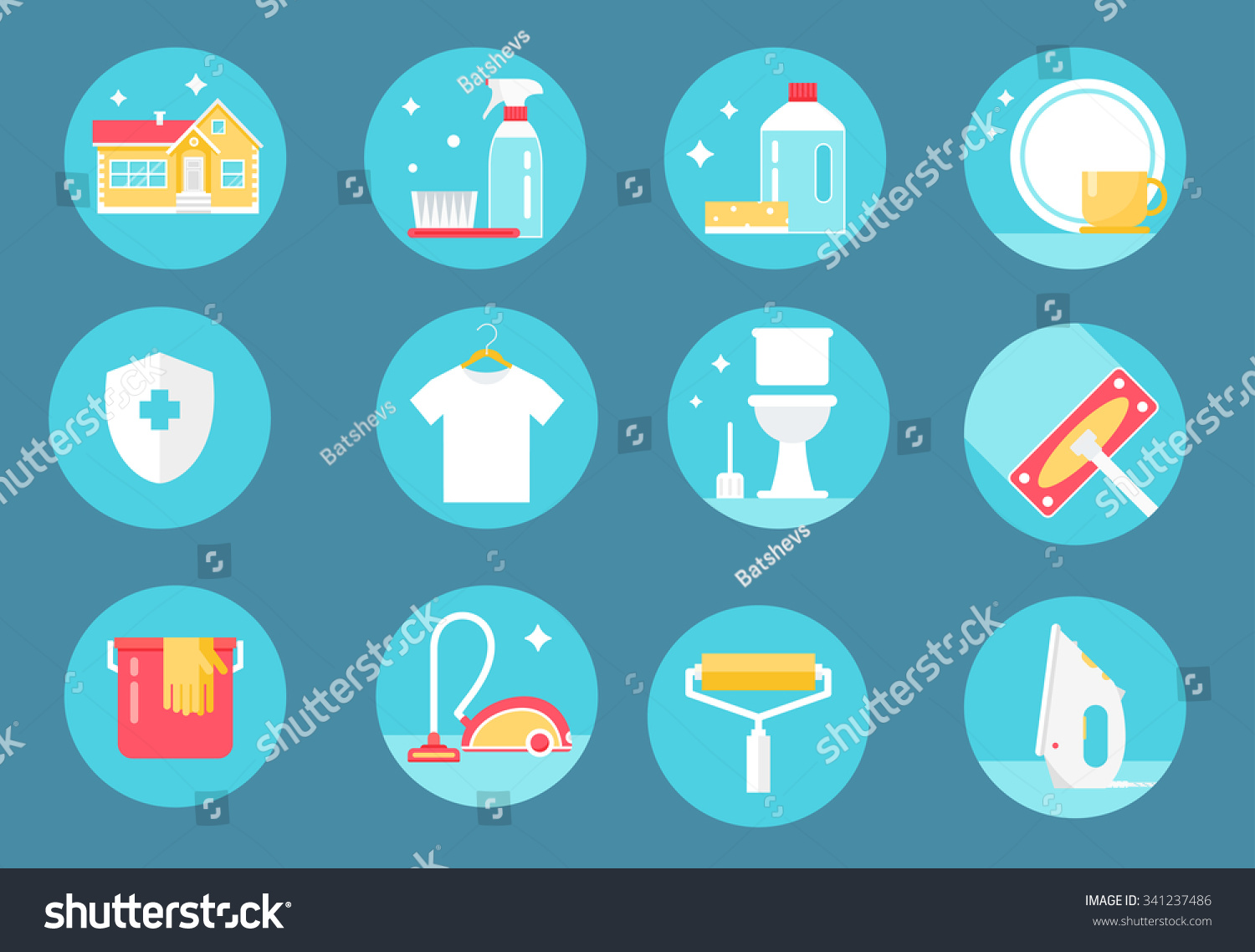 Home Cleaning Service Agents and Tools Round Icons Set Flat Design