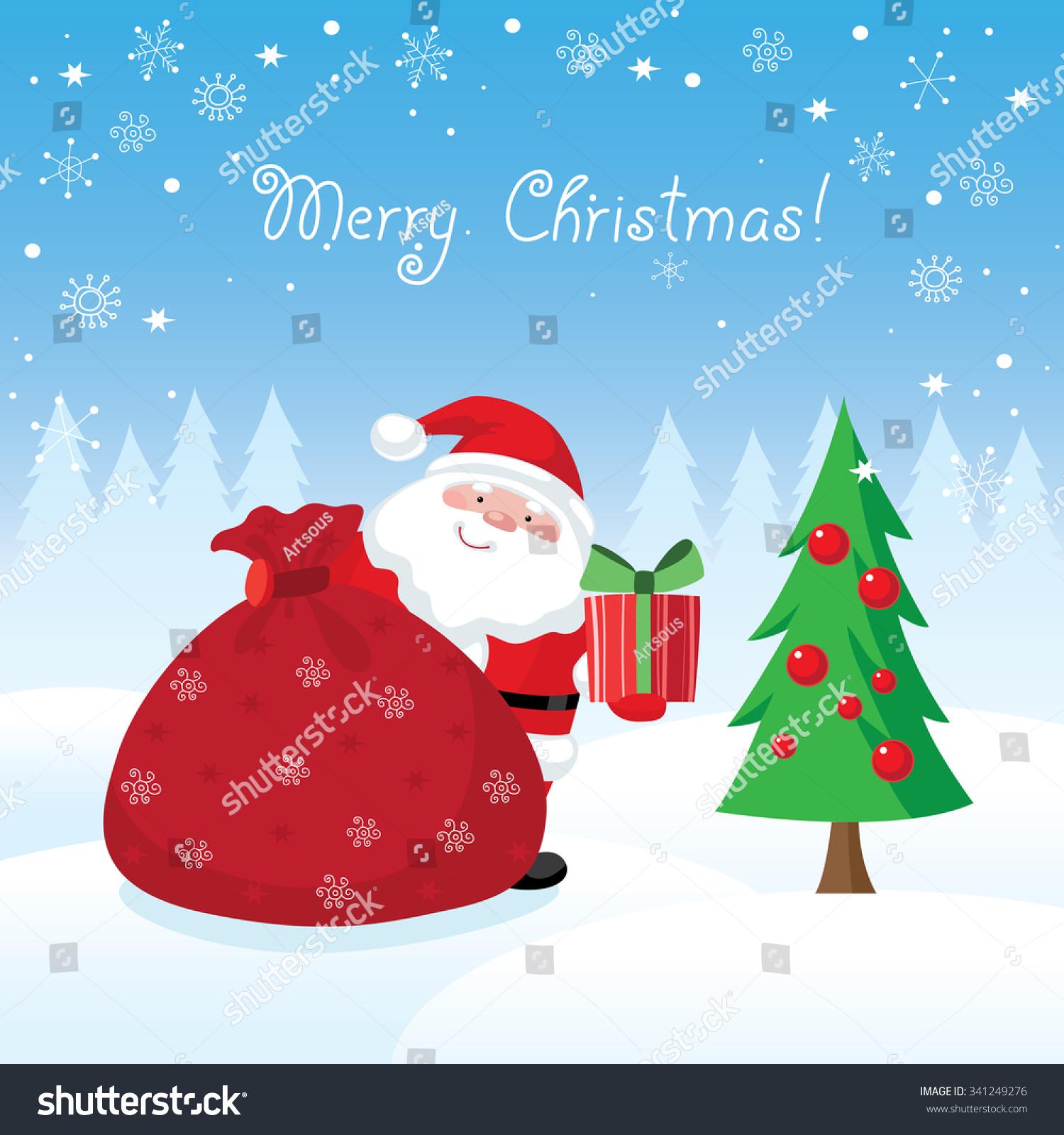 Christmas Card Santa Claus Holding Gift Stock Vector (Royalty Free ...