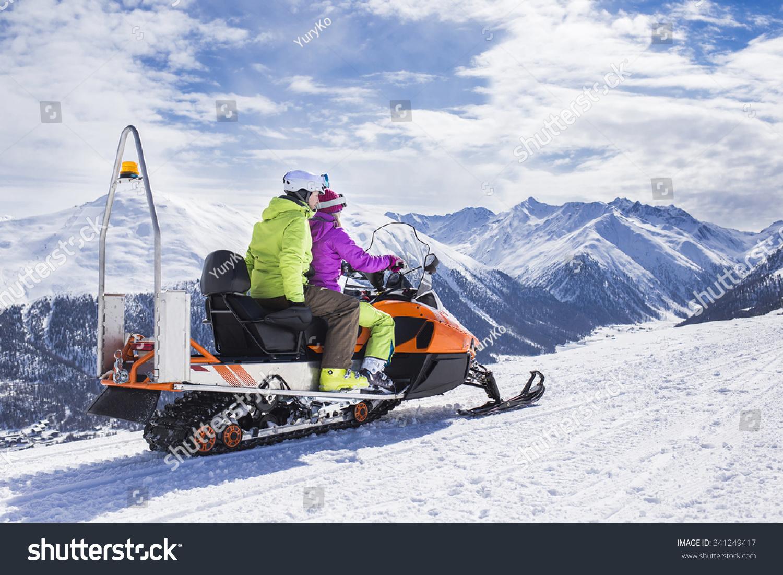 Young Couple Riding Snowmobile Snow Mountain Stock Photo (Edit Now ... f1e1922d4