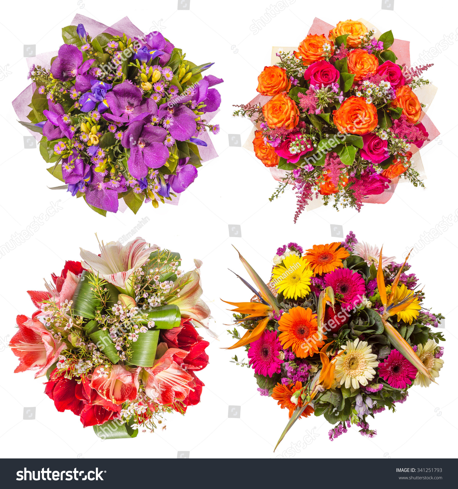 Top View Four Colorful Flower Bouquets Stock Photo (Royalty Free ...
