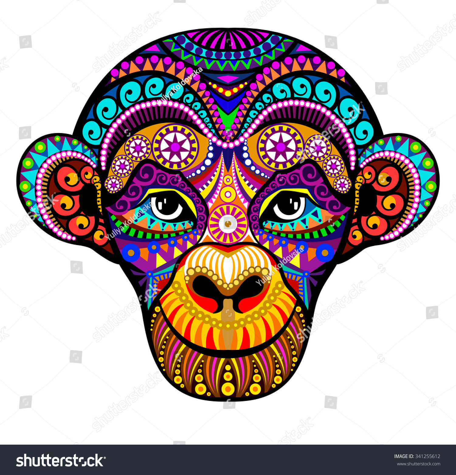 Monkey Head. 2016. Tribal colorful design. It may be used for design ...