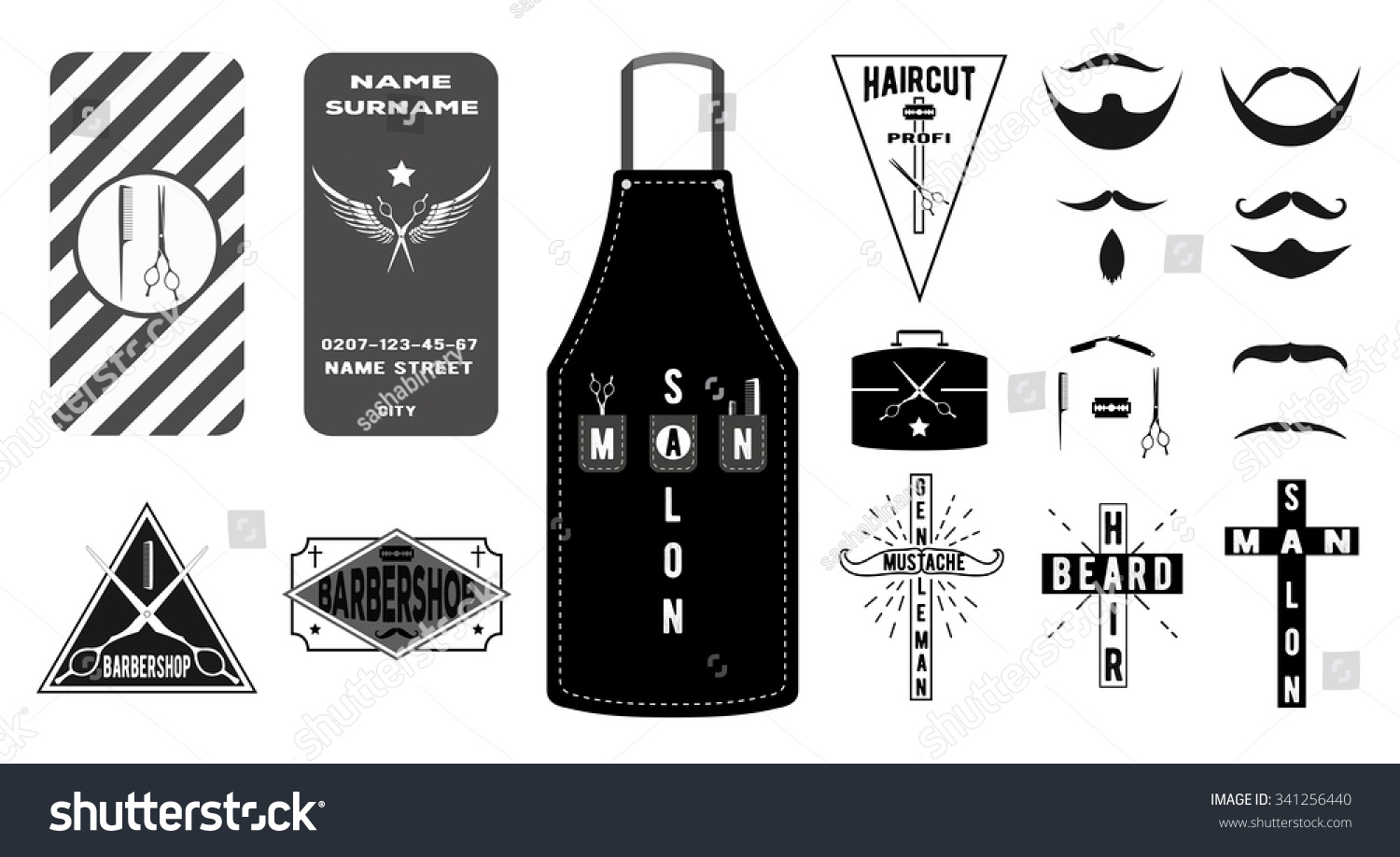 Collection vintage barber shop emblems labels stock vector collection of vintage barber shop emblems labels logos and business card in flat style magicingreecefo Image collections