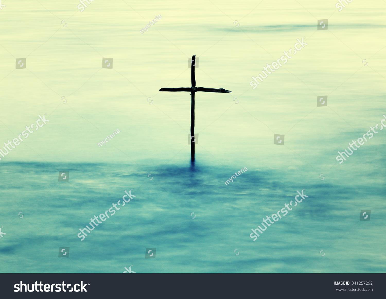 Symbol Baptism Wooden Cross Jordan River Stock Photo Edit Now