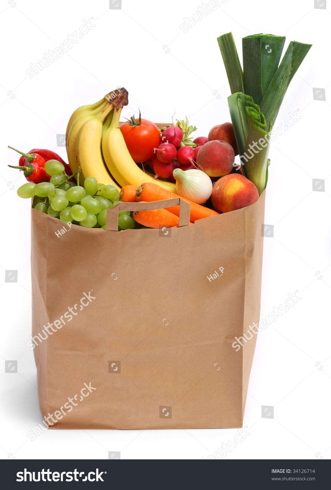 Grocery Bag Full Healthy Fruits Vegetables Stock Photo 34126714 ...