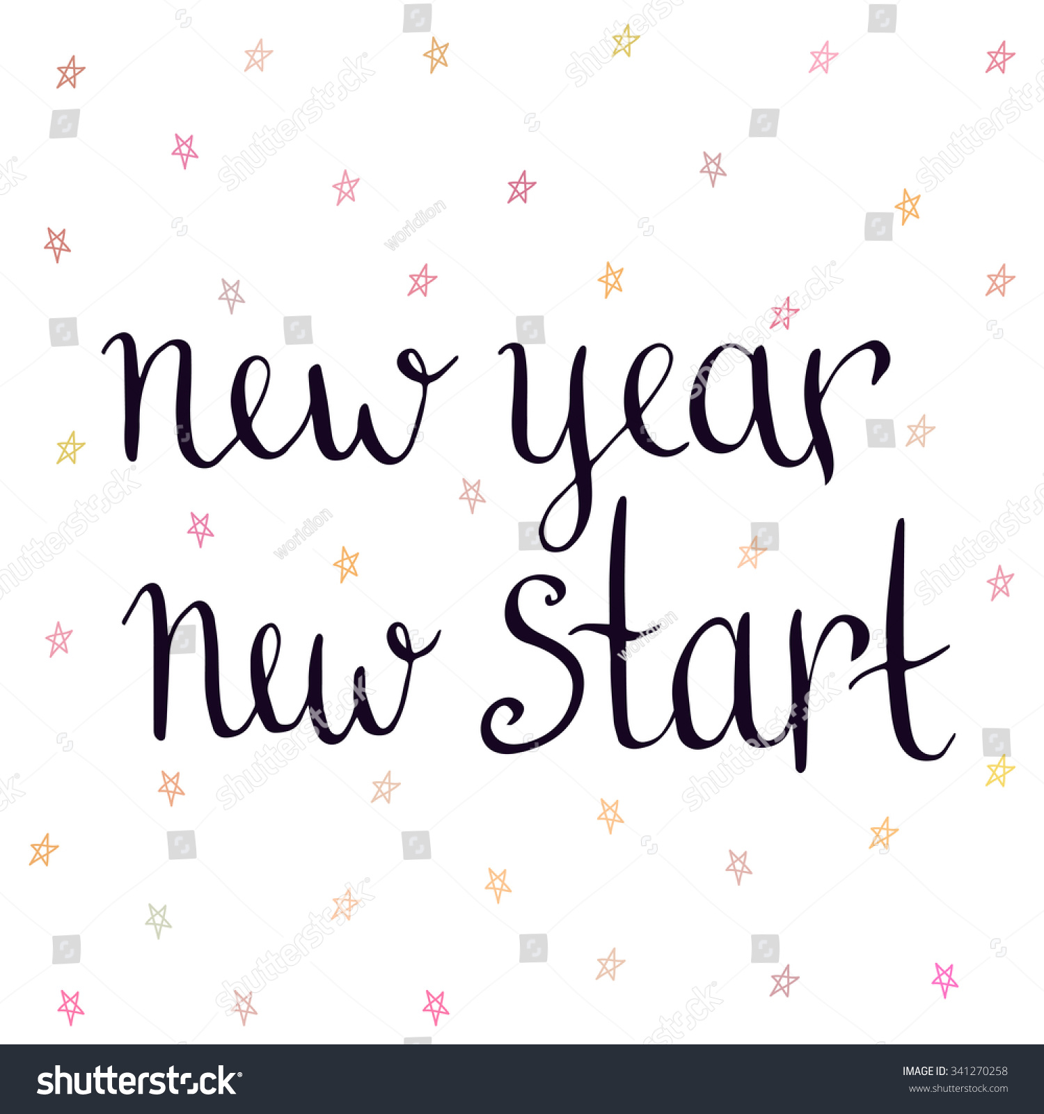 New Year New Start Inspirational Motivational Stock Vector (Royalty ...