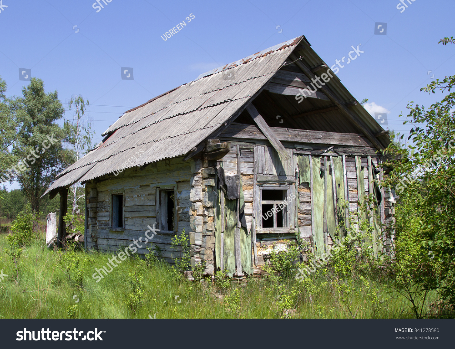 old wooden house old small abandoned stock photo 341278580