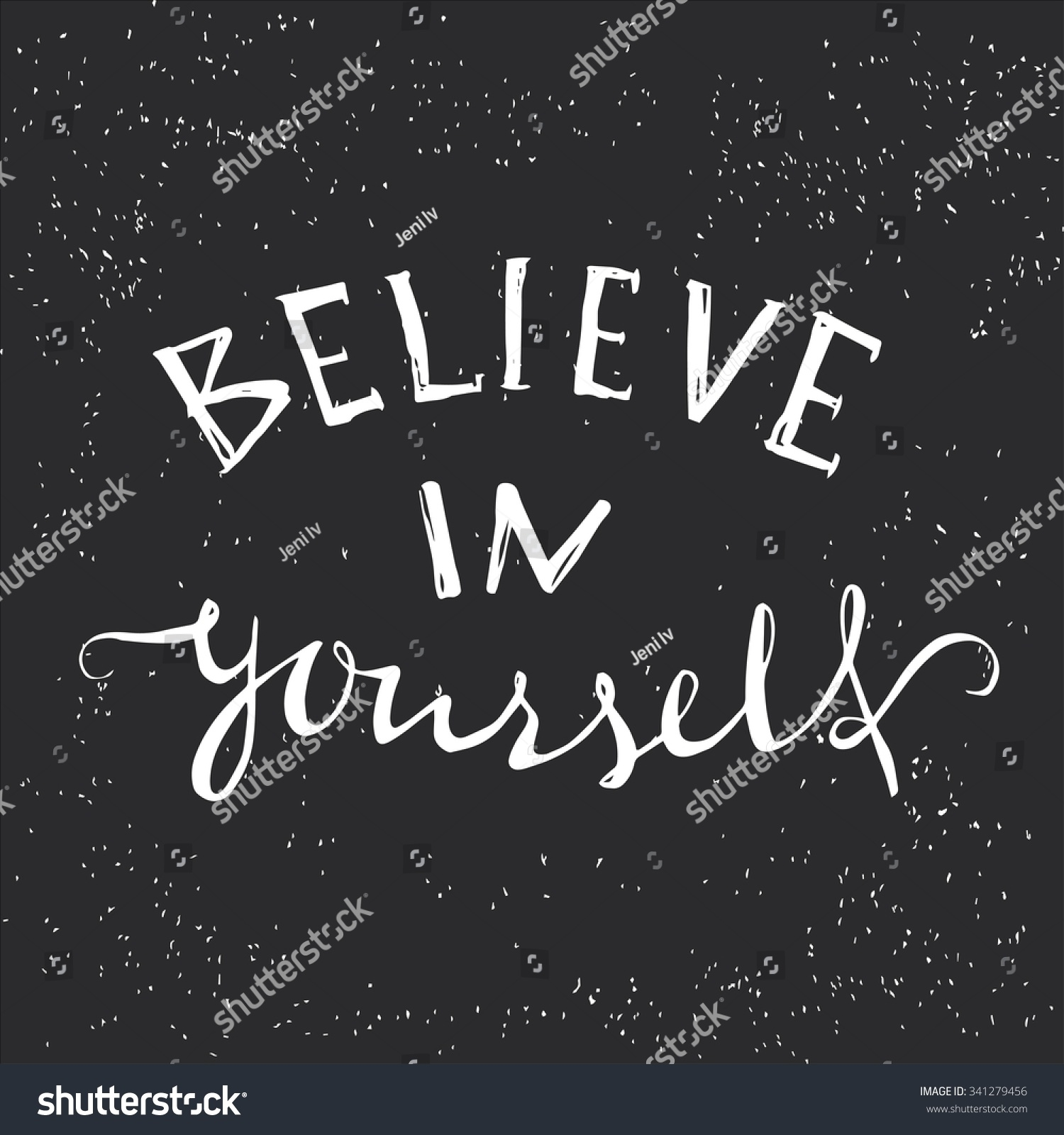 Believe Yourself Tshirt Design Handdrawn Lettering Stock Vector